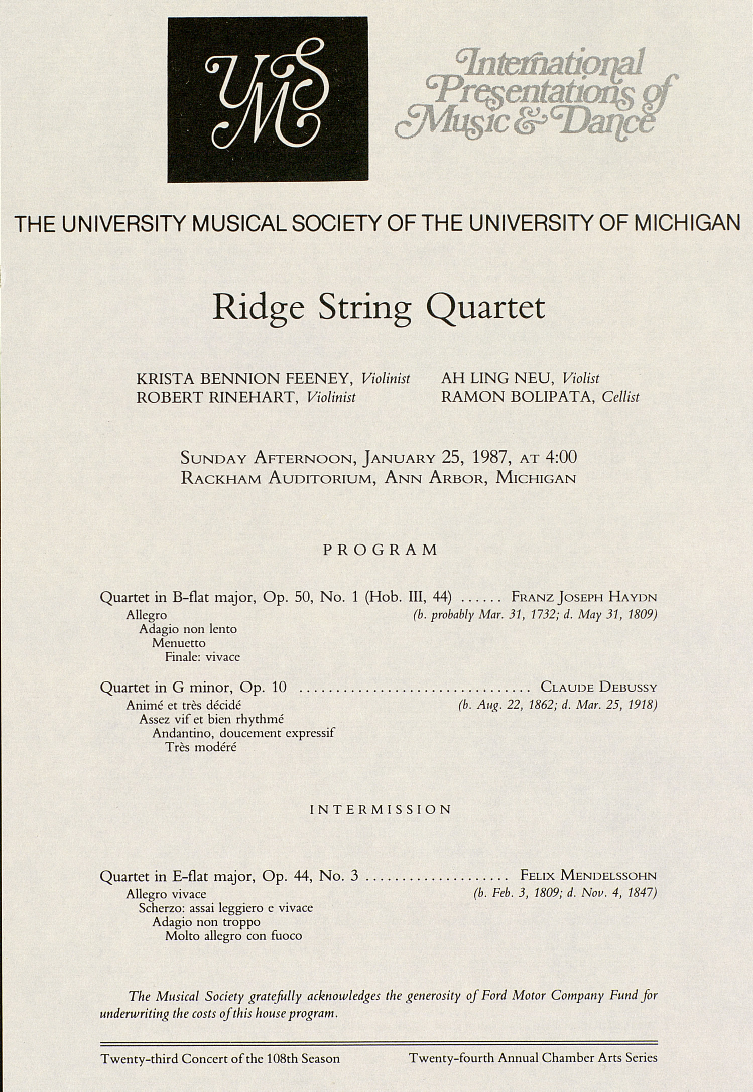 UMS Concert Program, January 25, 1987: Ridge String Quartet --  image