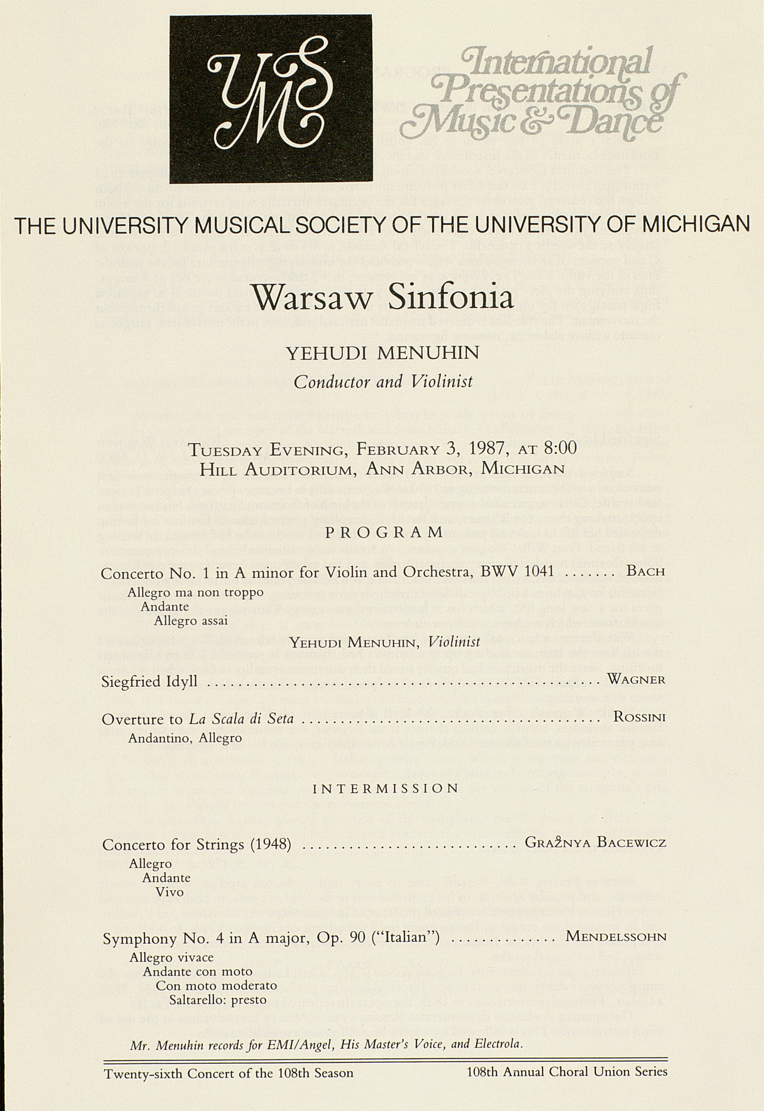 UMS Concert Program, February 3, 1987: Warsaw Sinfonia --  image