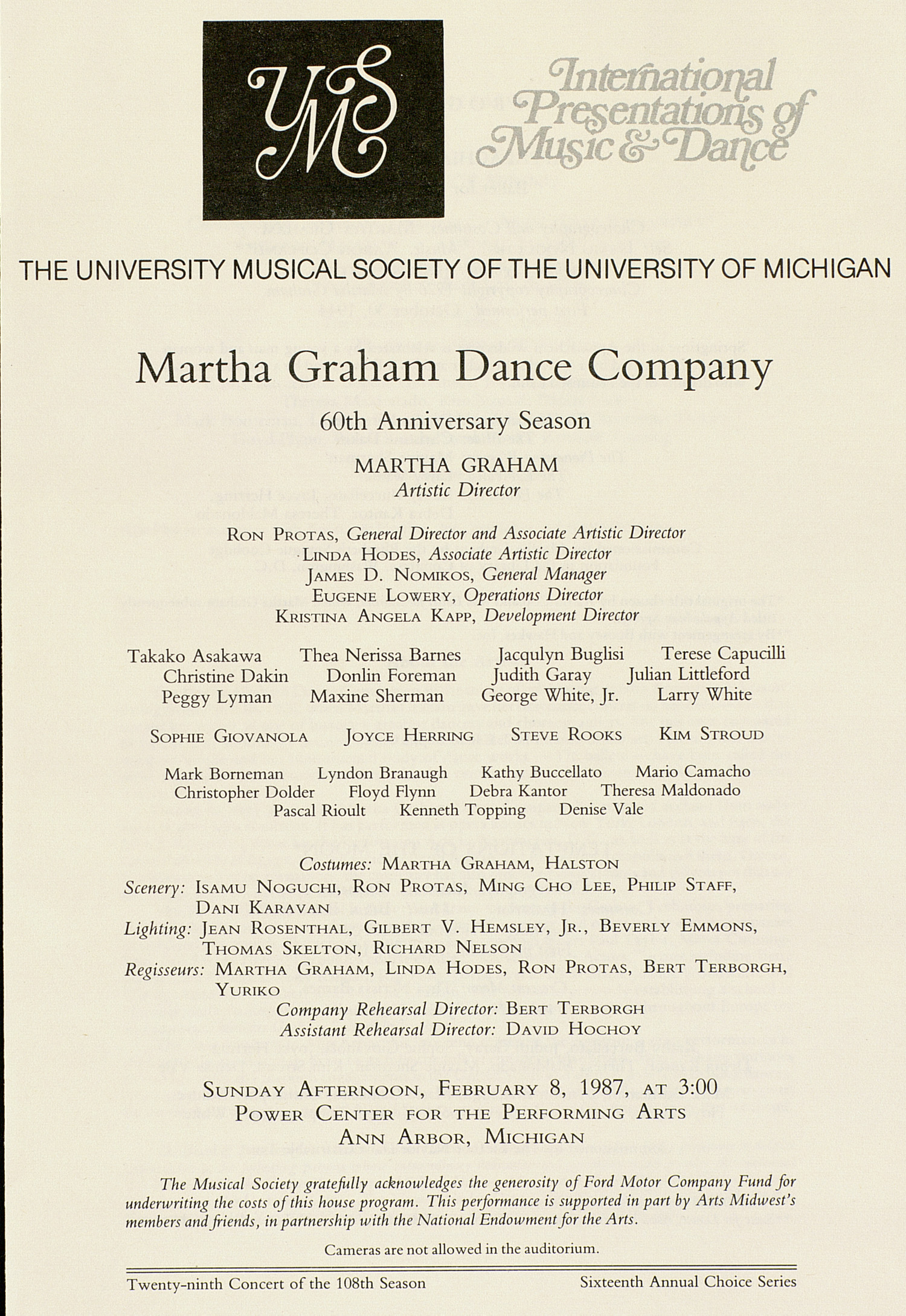 UMS Concert Program, February 8, 1987: International Presentations Of Music & Dance -- Martha Graham Dance Company image