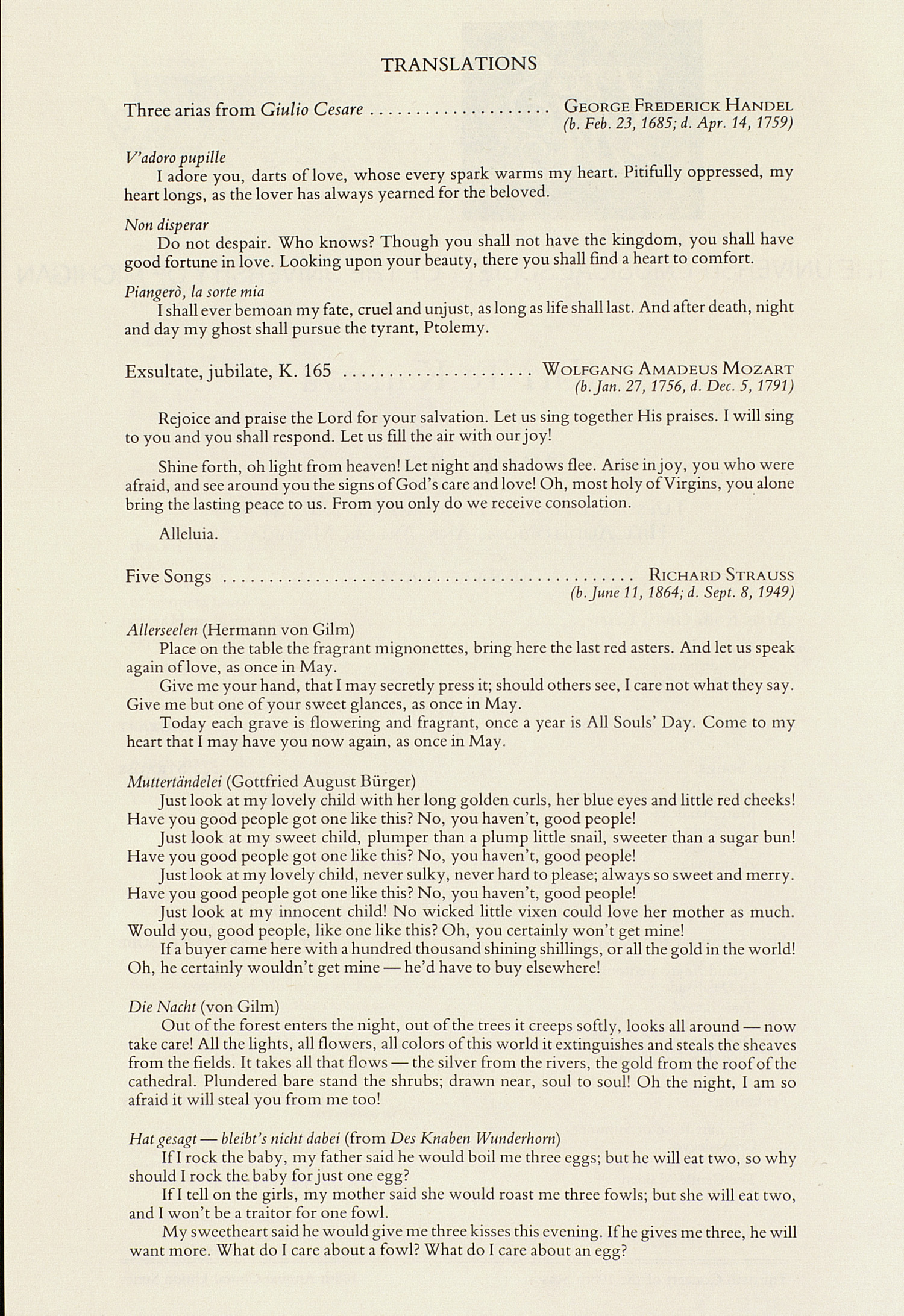 UMS Concert Program, February 10, 1987: International Presentations Of Music & Dance --  image