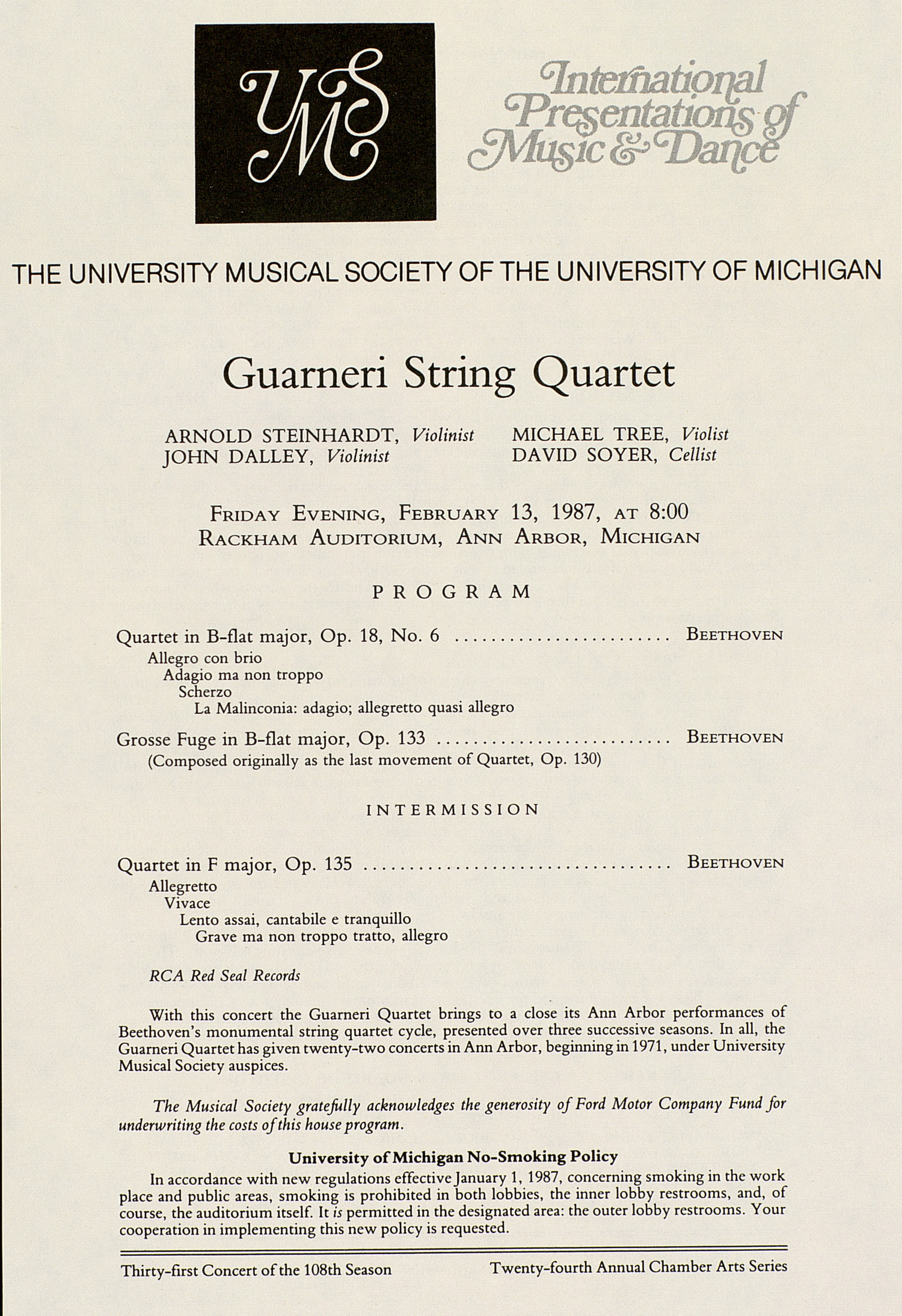 UMS Concert Program, February 13, 1987: Guarneri String Quartet --  image