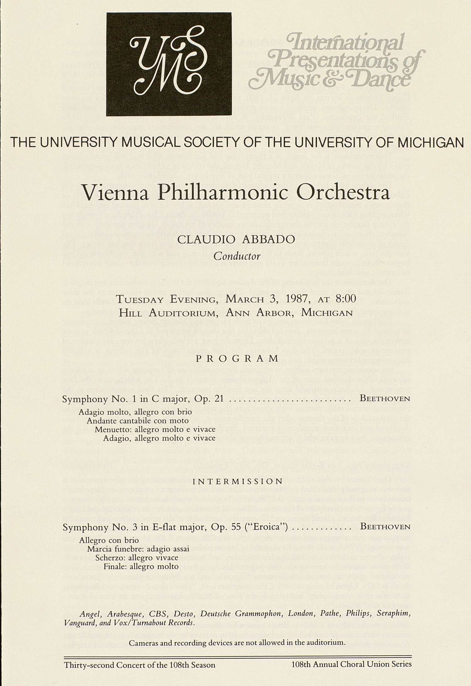 UMS Concert Program, March 3, 1987: International Presentations Of Music & Dance -- Vienna Philharmonic Orchestra image