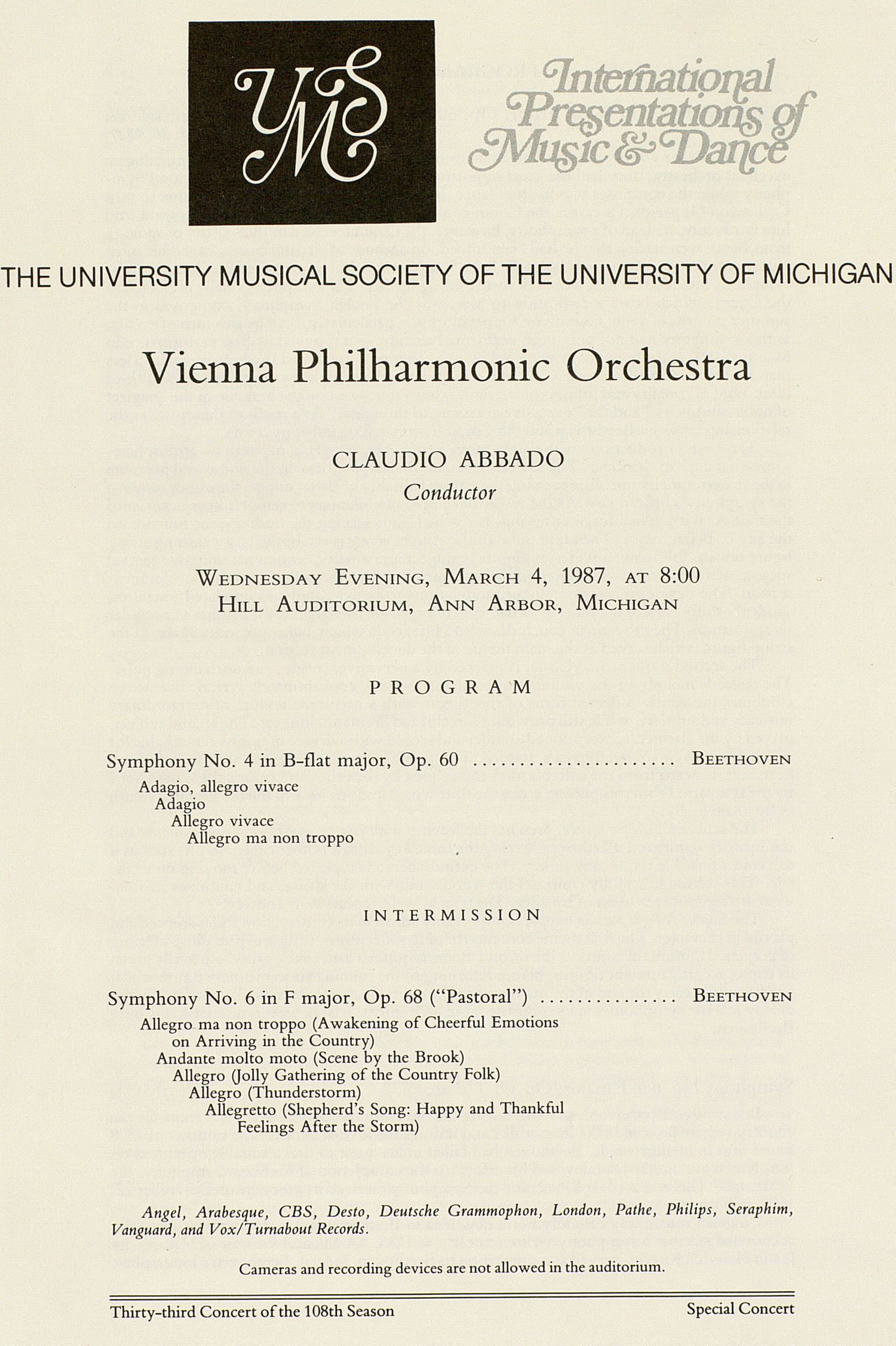 UMS Concert Program, March 4, 1987: International Presentations Of Music & Dance -- Vienna Philharmonic Orchestra image