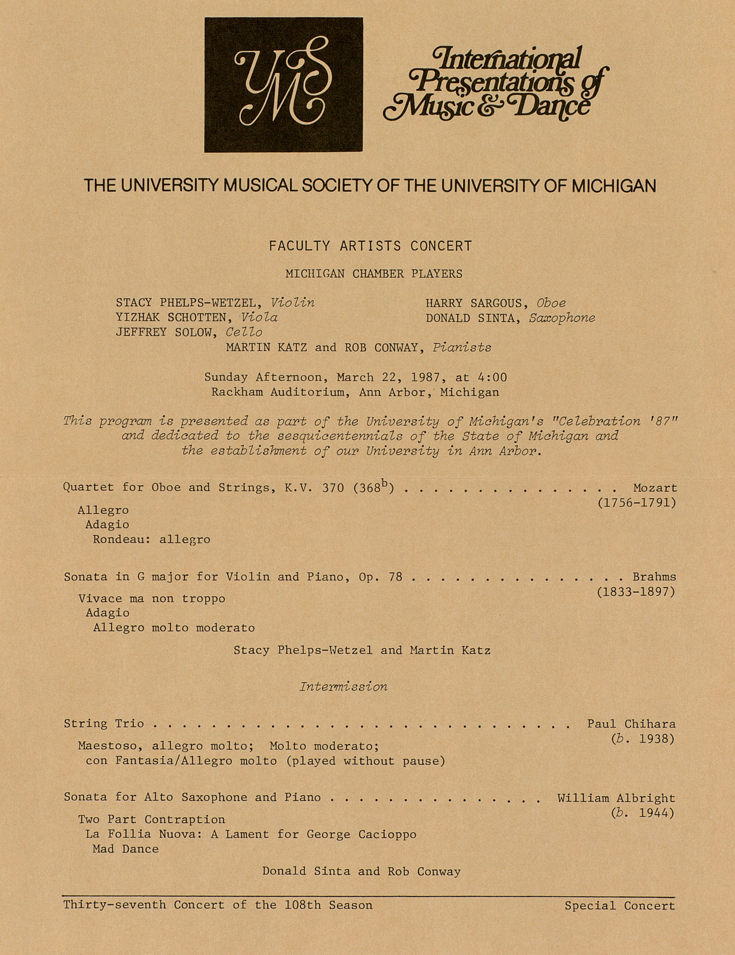 UMS Concert Program, March 22, 1987: Faculty Artists Concert --  image