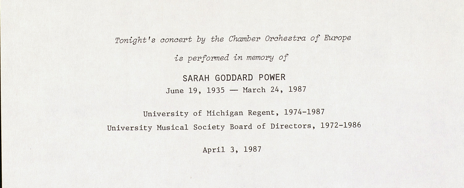 UMS Concert Program, April 3, 1987: International Presentations Of Music & Dance -- Chamber Orchestra Of Europe image