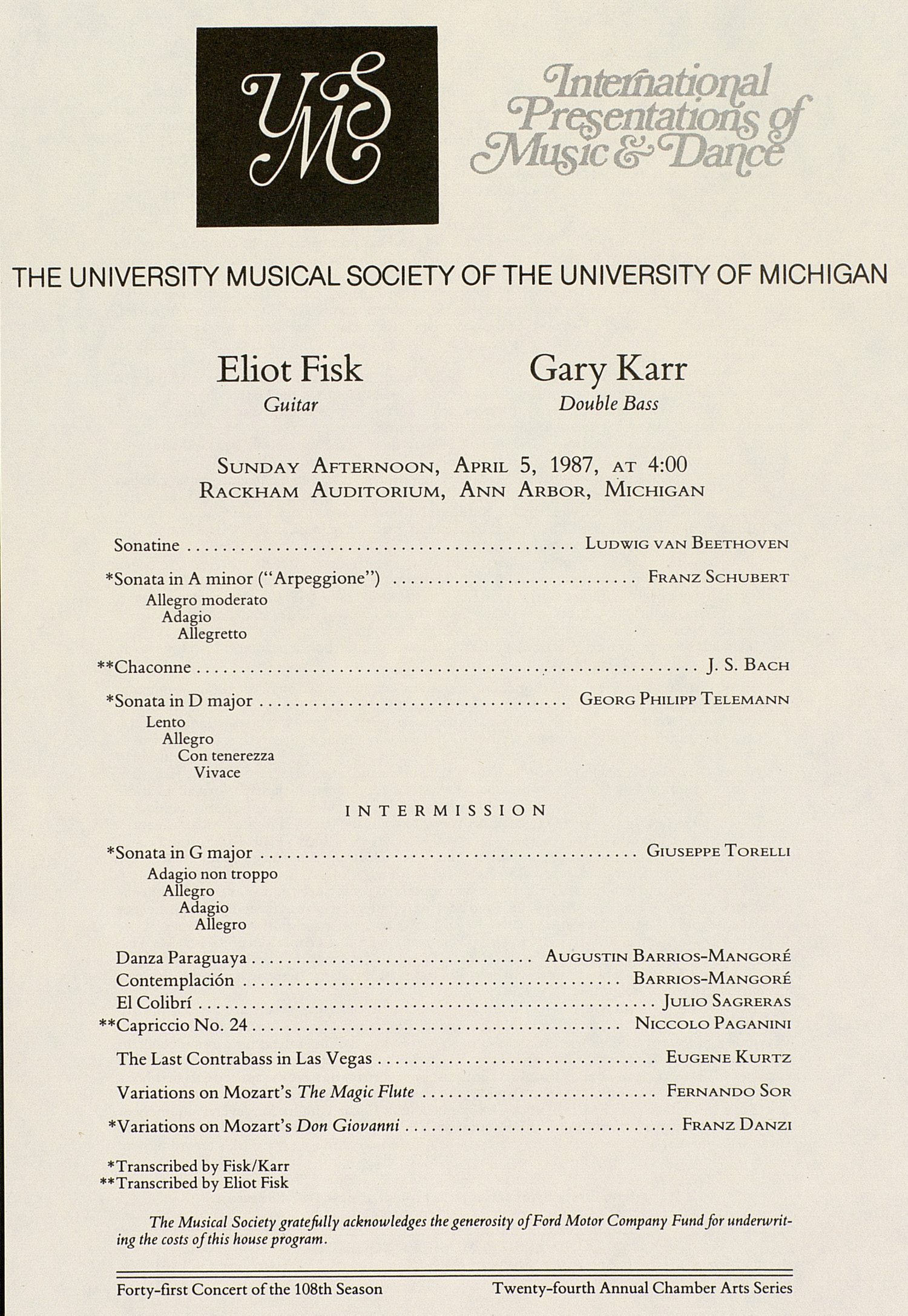 UMS Concert Program, April 5, 1987: International Presentations Of Music & Dance --  image
