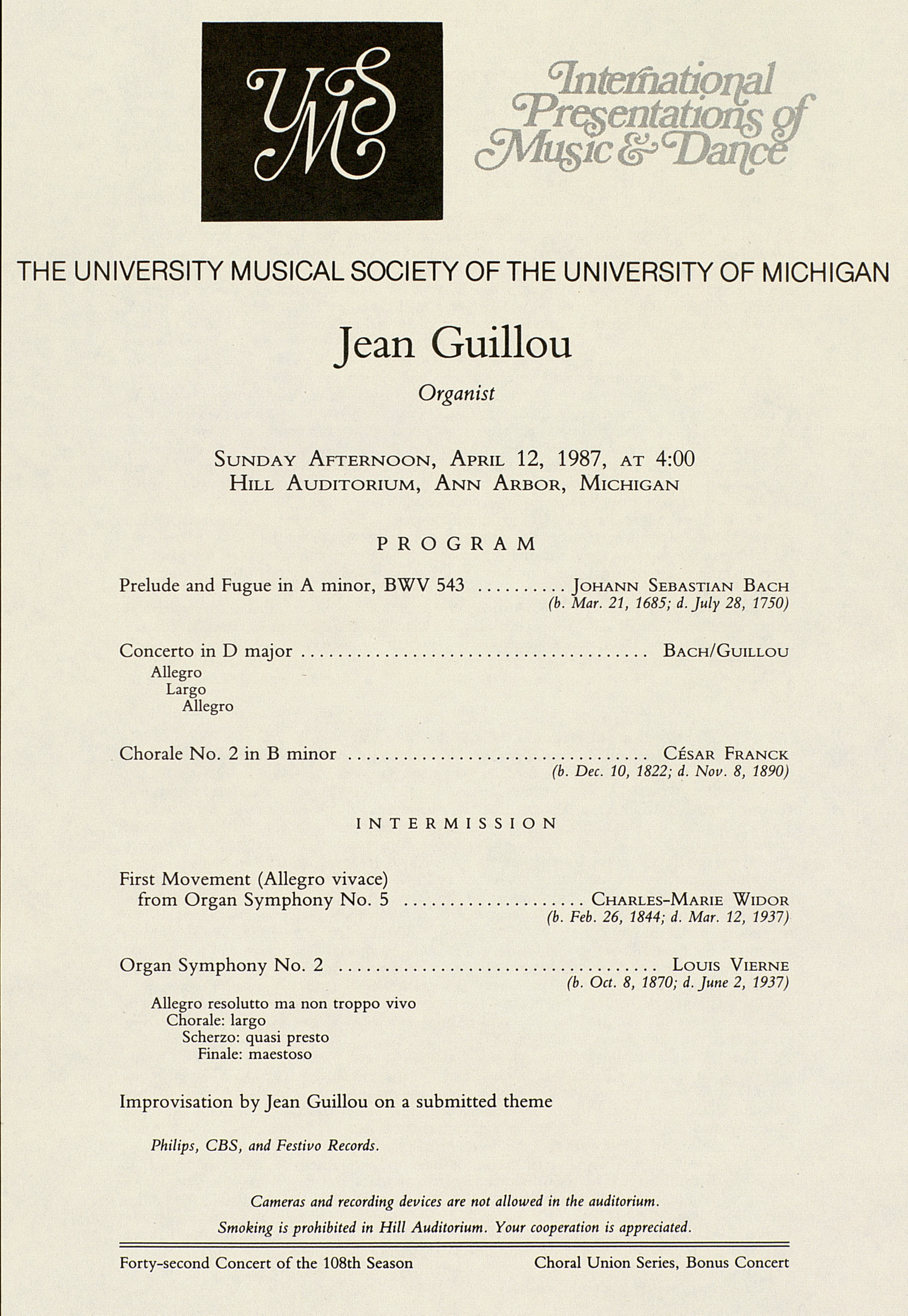 UMS Concert Program, April 12, 1987: International Presentations Of Music & Dance --  image