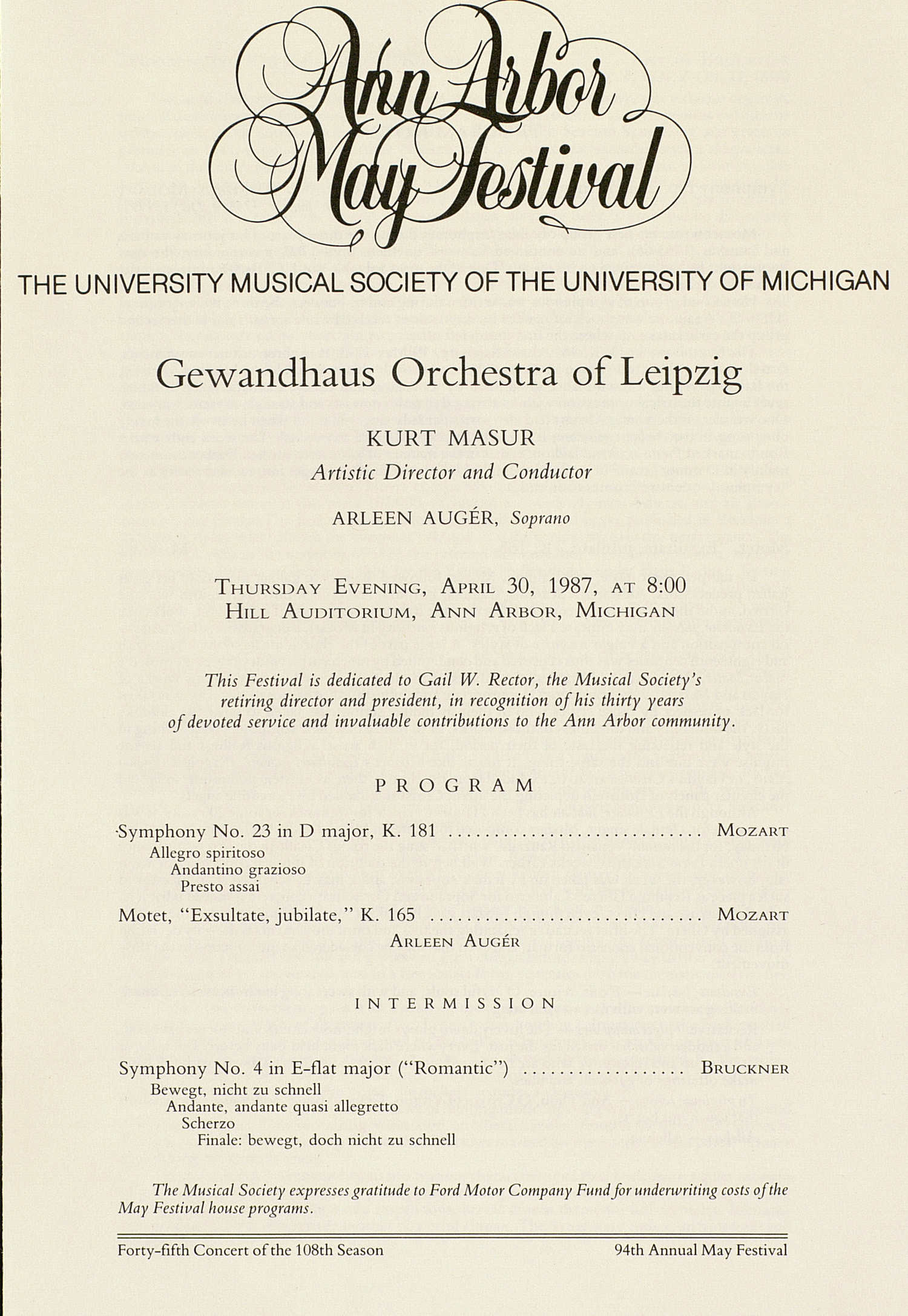 UMS Concert Program, April 30, 1987: Ann Arbor May Festival -- Gewandhaus Orchestra Of Leipzig image