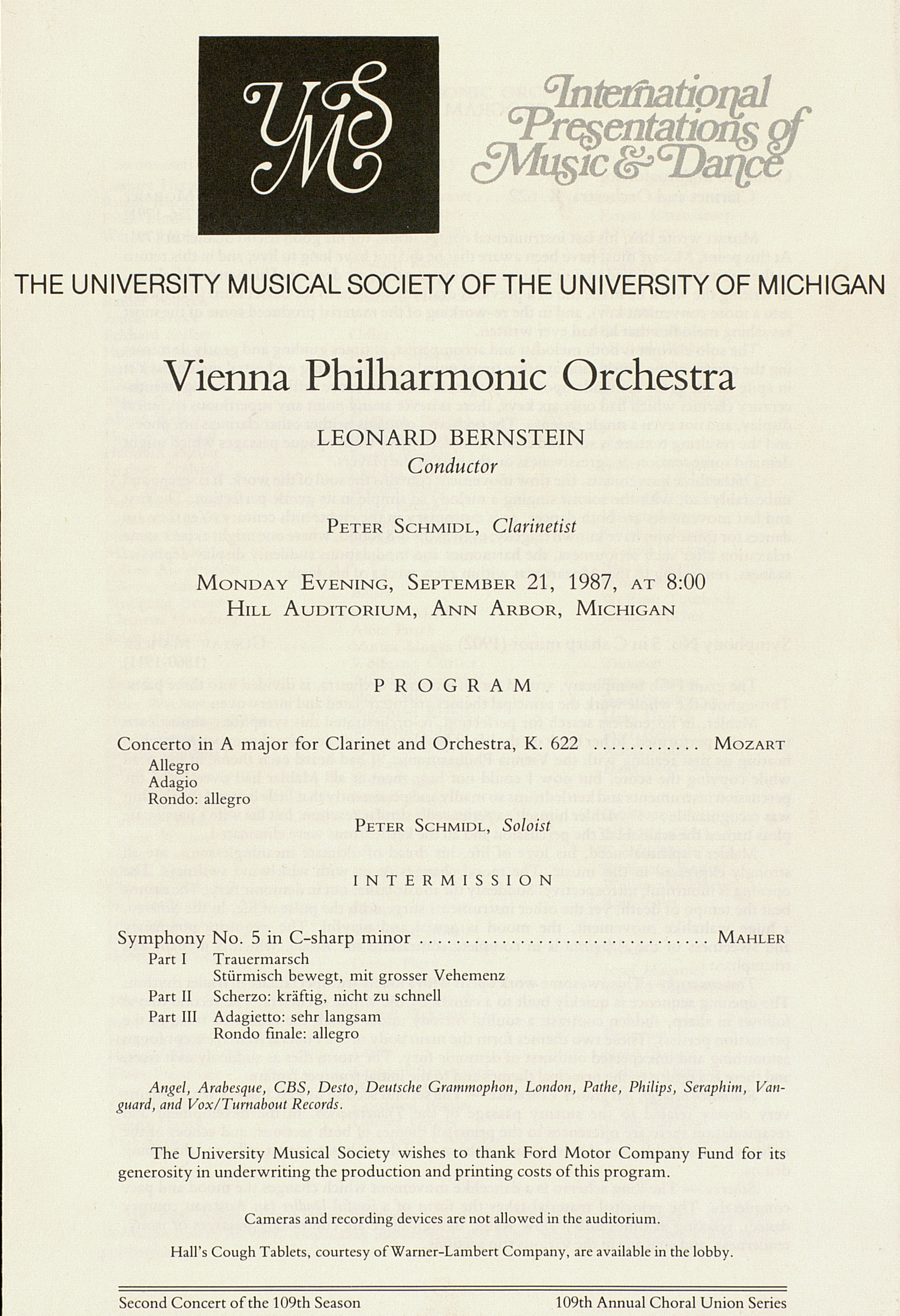 UMS Concert Program, September 21, 1987: International Presentations Of Music & Dance -- Vienna Philharmonic Orchestra image