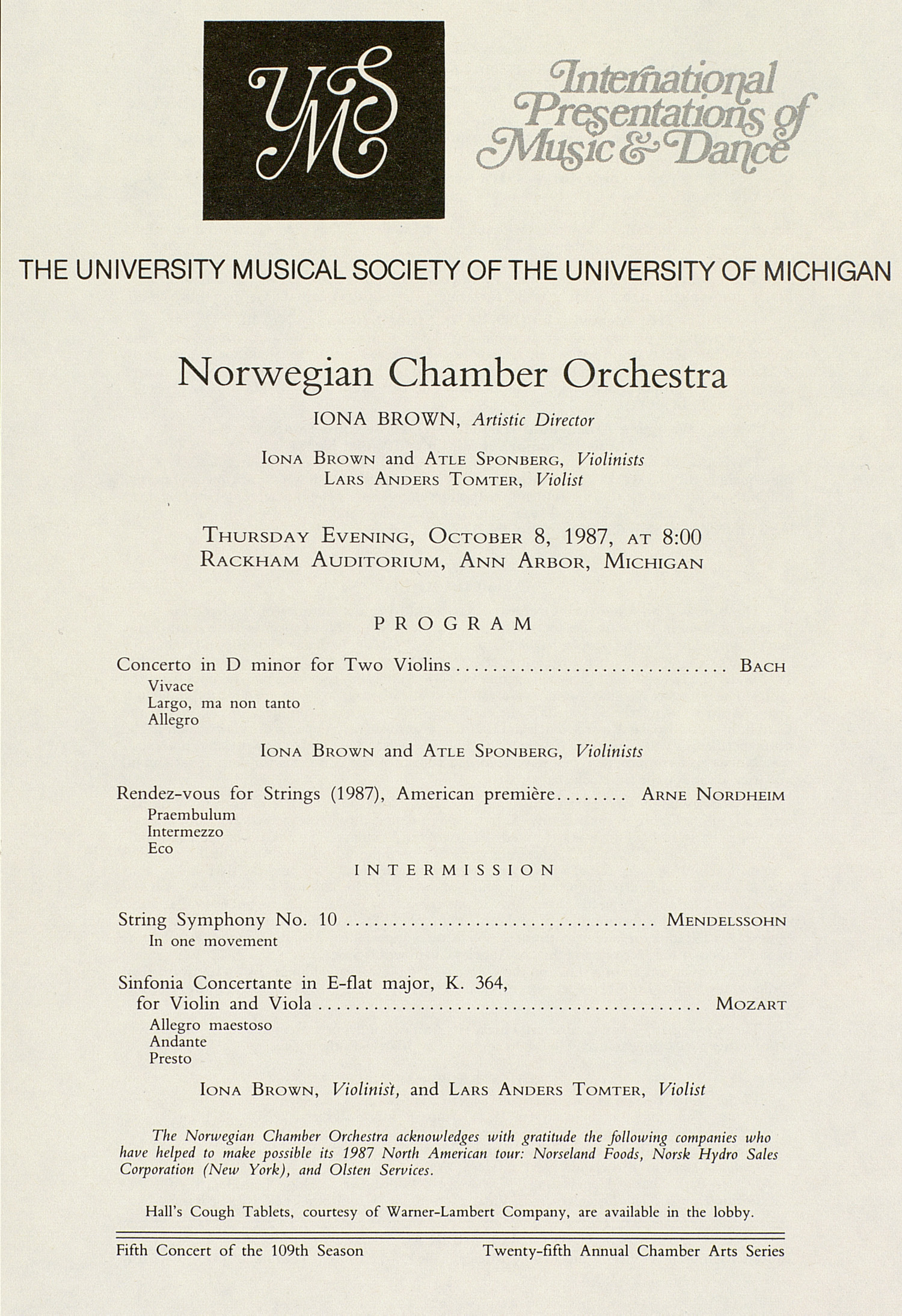 UMS Concert Program, October 8, 1987: International Presentations Of Music & Dance -- Norwegian Chamber Orchestra image