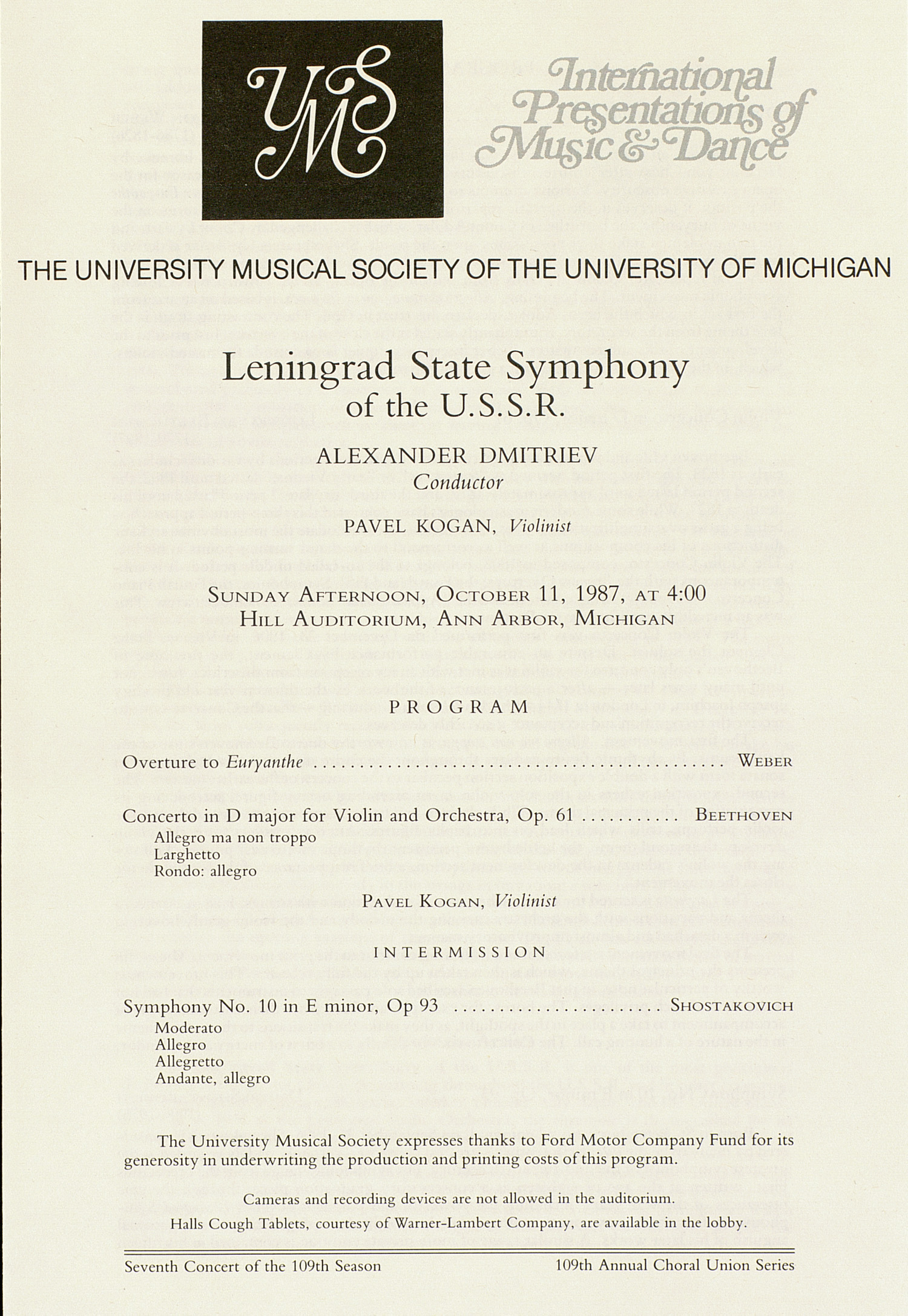 UMS Concert Program, October 11, 1987: Leningrad State Symphony Of The U.s.s.r. --  image
