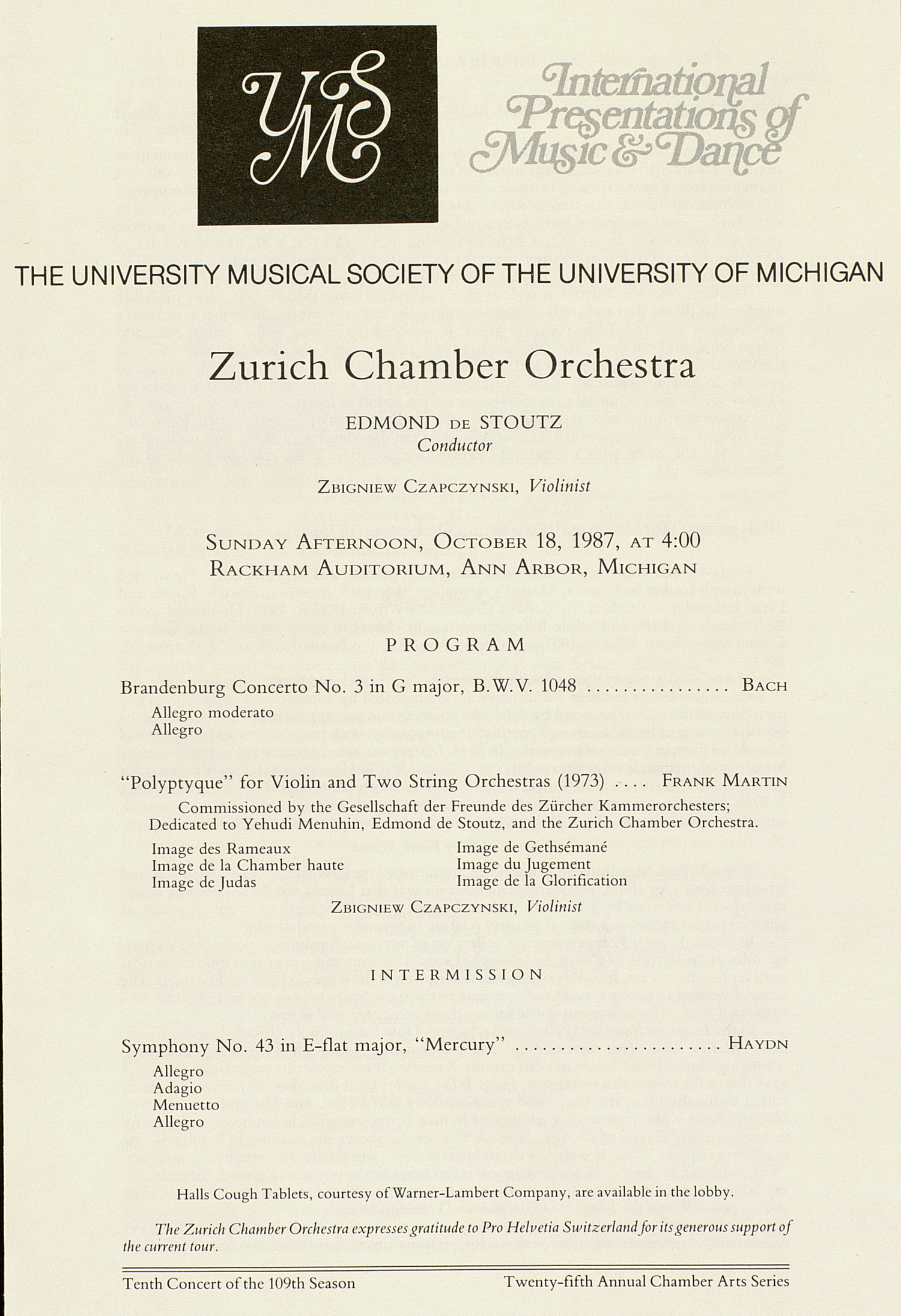 UMS Concert Program, October 18, 1987: International Presentations Of Music & Dance -- Zurich Chamber Orchestra image