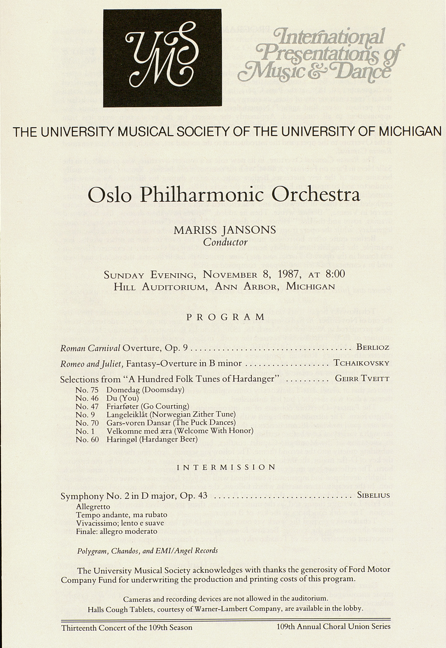 UMS Concert Program, November 8, 1987: International Presentations Of Music & Dance -- Oslo Philharmonic Orchestra image