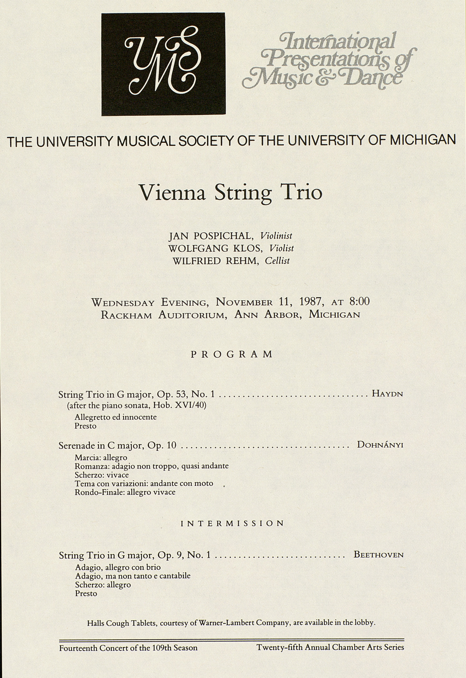 UMS Concert Program, November 11, 1987: Vienna String Trio --  image
