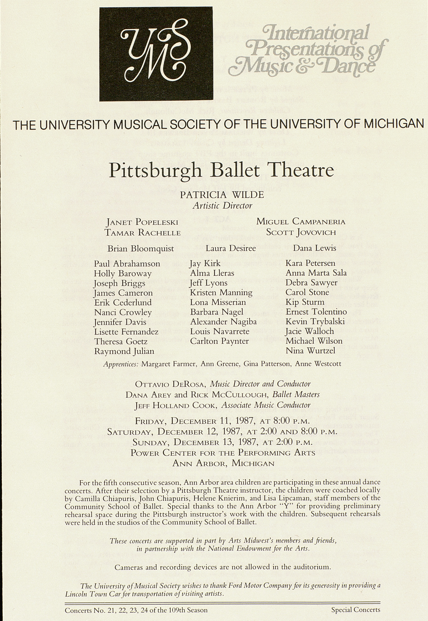 UMS Concert Program, December 11-13, 1987: Internation Presentations Of Music & Dance -- Pittsburgh Ballet Theatre image