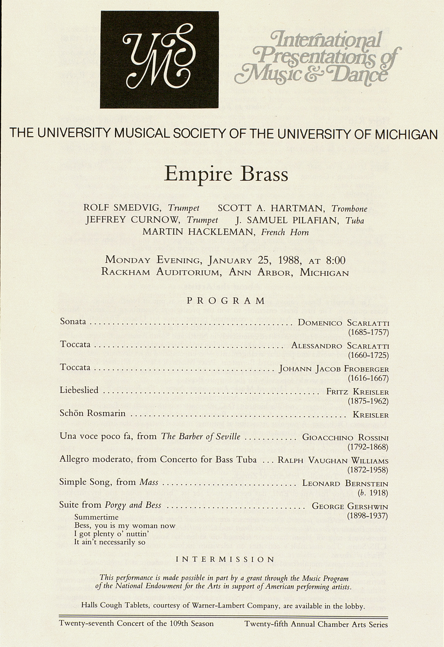 UMS Concert Program, January 25, 1988: Empire Brass --  image