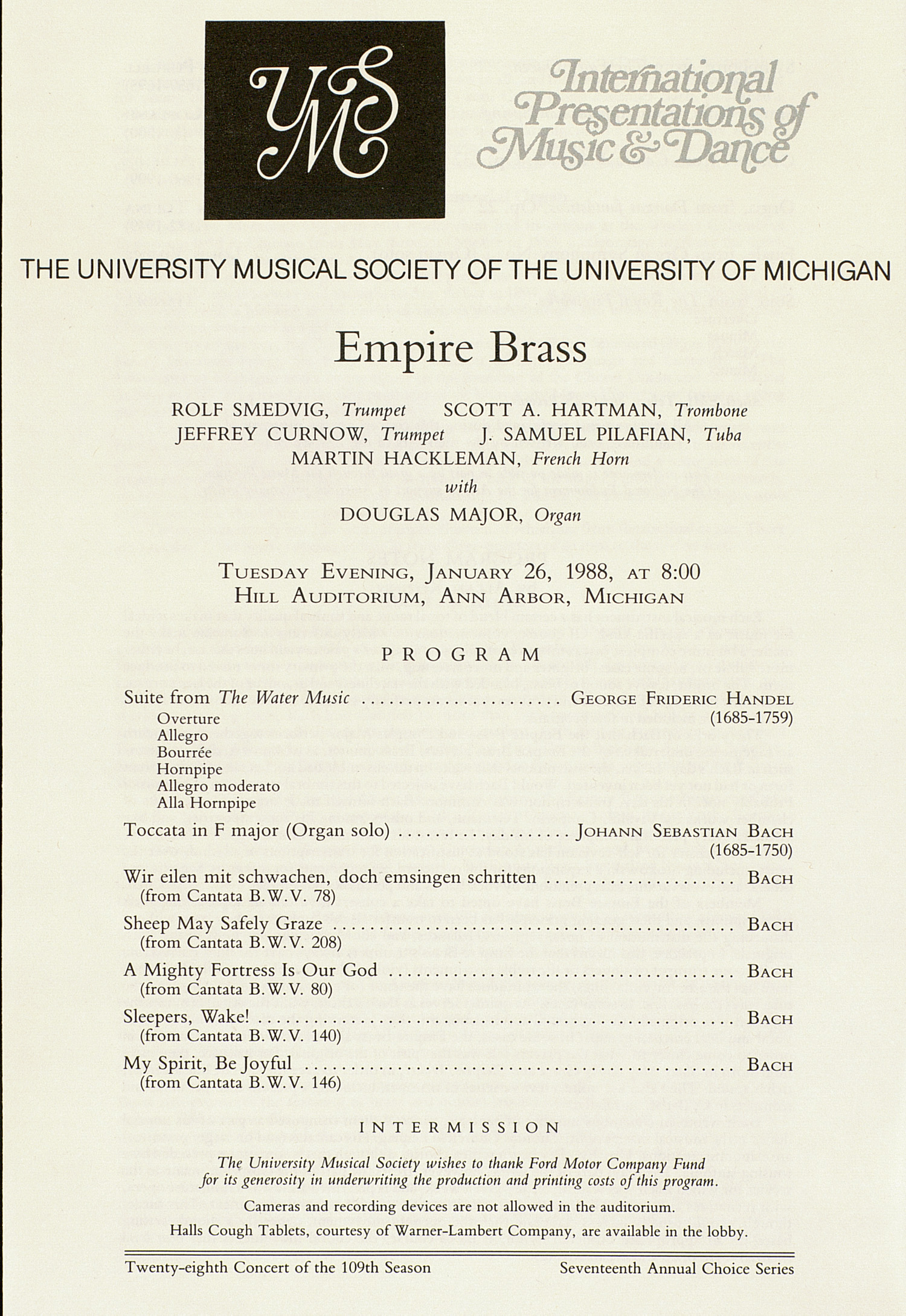UMS Concert Program, January 26, 1988: Empire Brass --  image