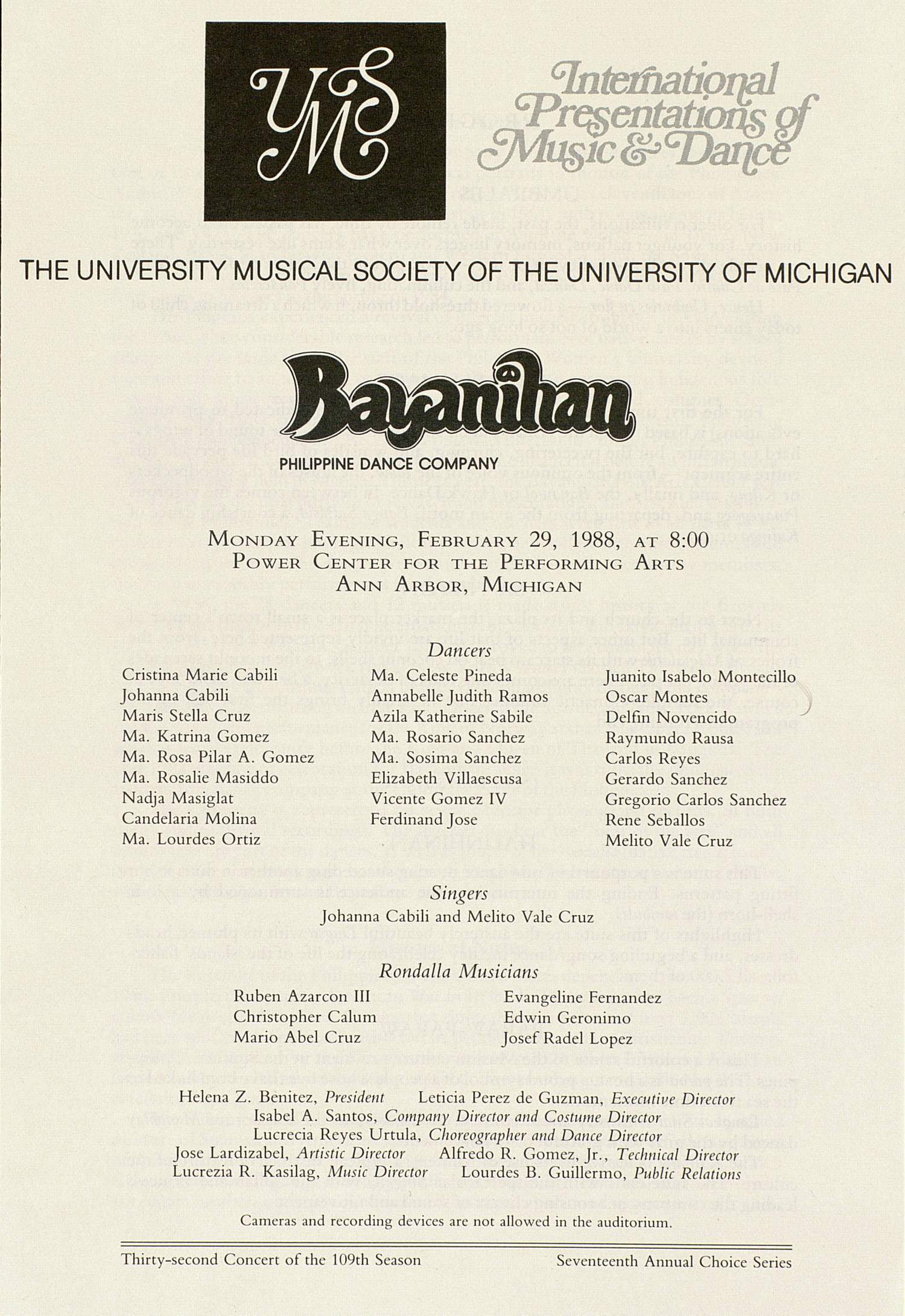 UMS Concert Program, February 29, 1988: Bayanihan --  image