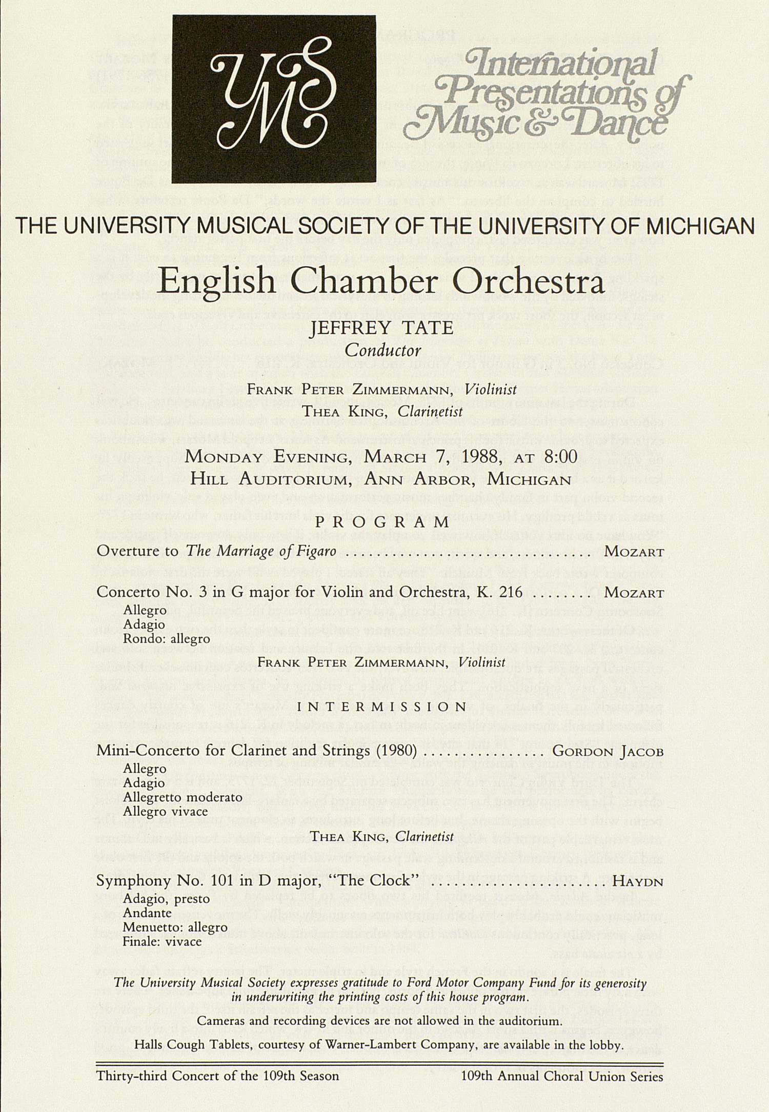 UMS Concert Program, March 7, 1988: International Presentations Of Music & Dance -- English Chamber Orchestra image