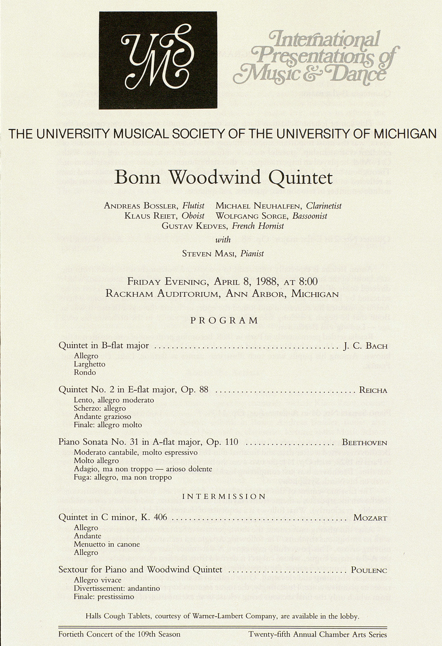 UMS Concert Program, April 8, 1988: Bonn Woodwind Quintet --  image