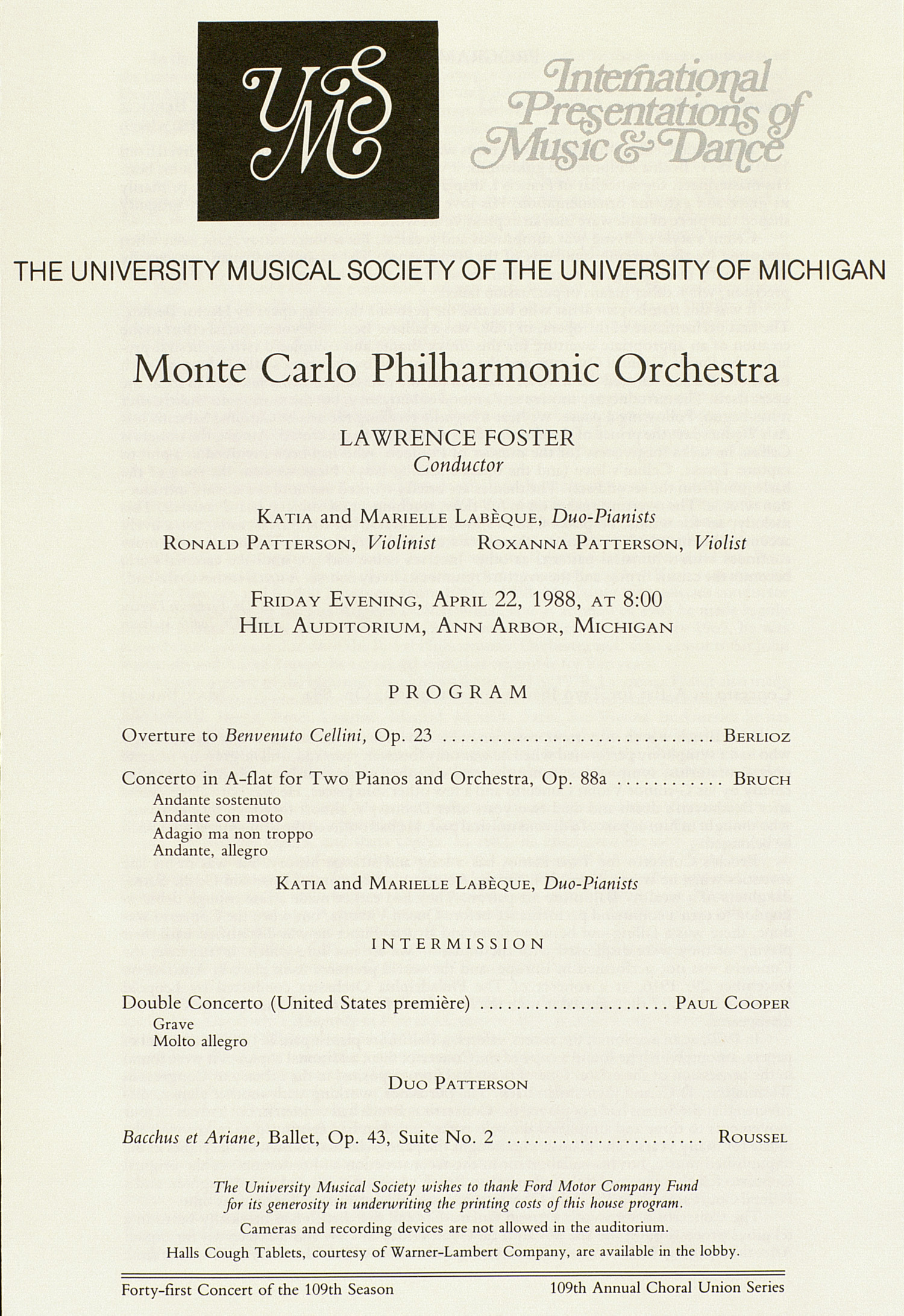 UMS Concert Program, April 22, 1988: International Presentations Of Music & Dance -- Monte Carlo Philharmonic Orchestra image