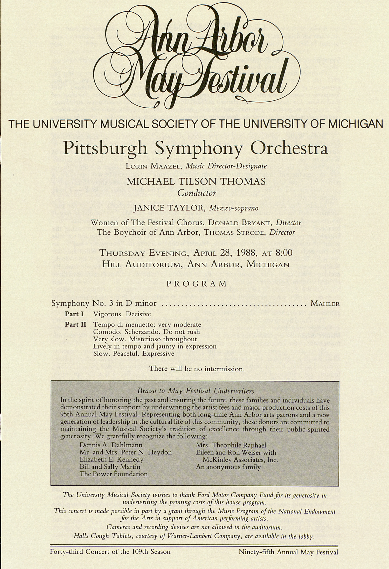 UMS Concert Program, April 28, 1988: Ann Arbor May Festival -- Pittsburgh Symphony Orchestra image