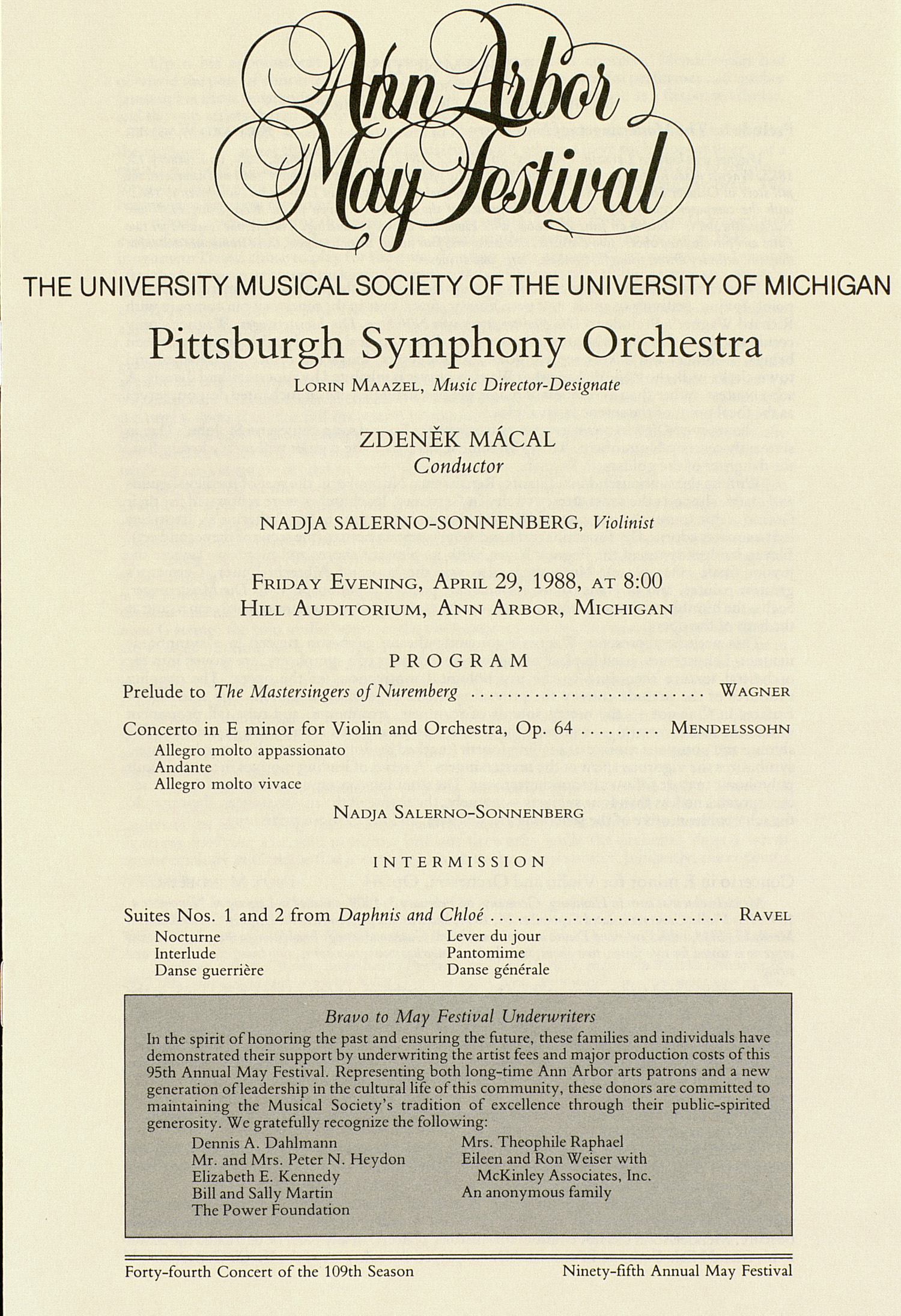 UMS Concert Program, April 29, 1988: Ann Arbor May Festival -- Pittsburgh Symphony Orchestra image