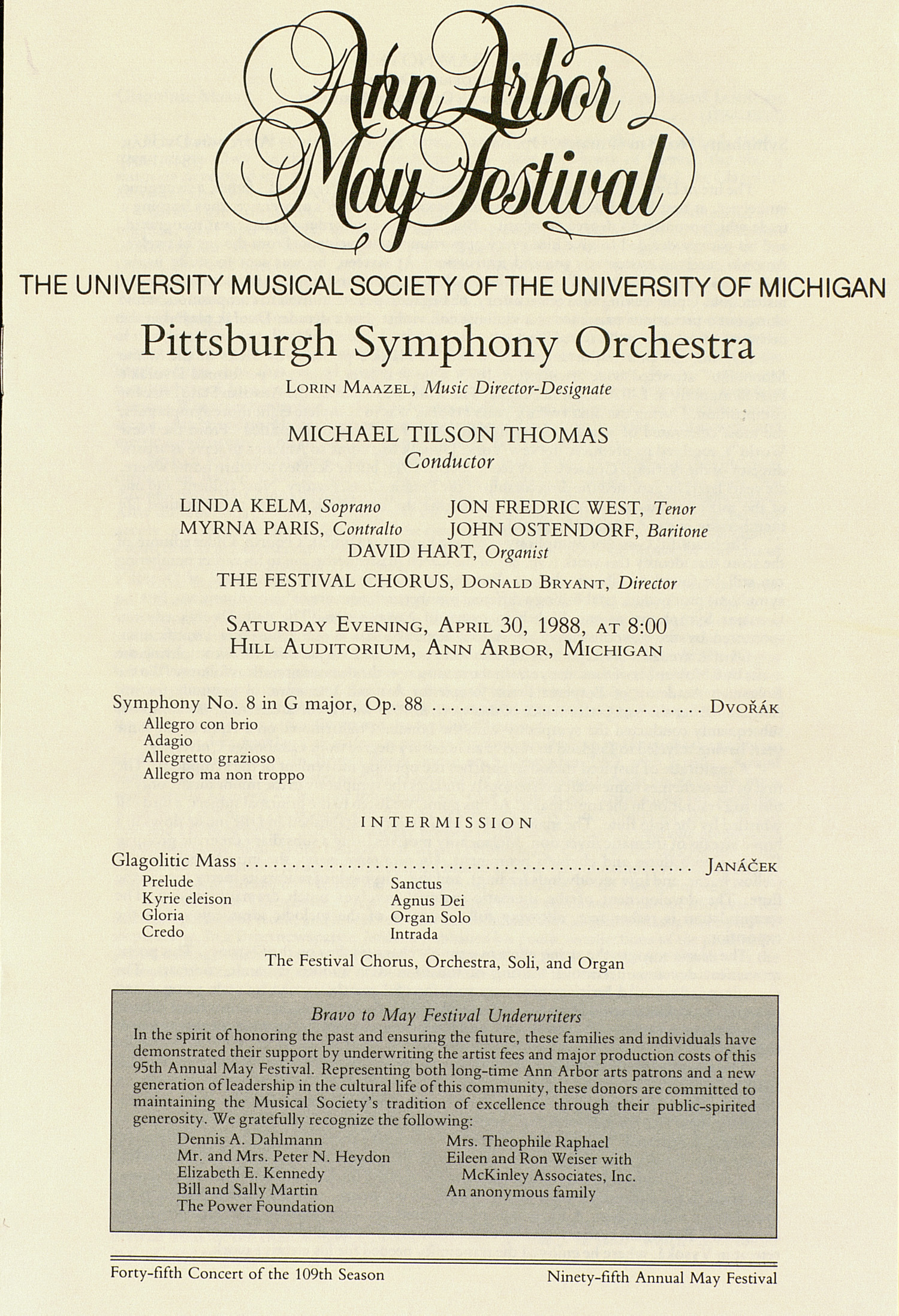 UMS Concert Program, April 30, 1988: Ann Arbor May Festival -- Pittsburgh Symphony Orchestra image