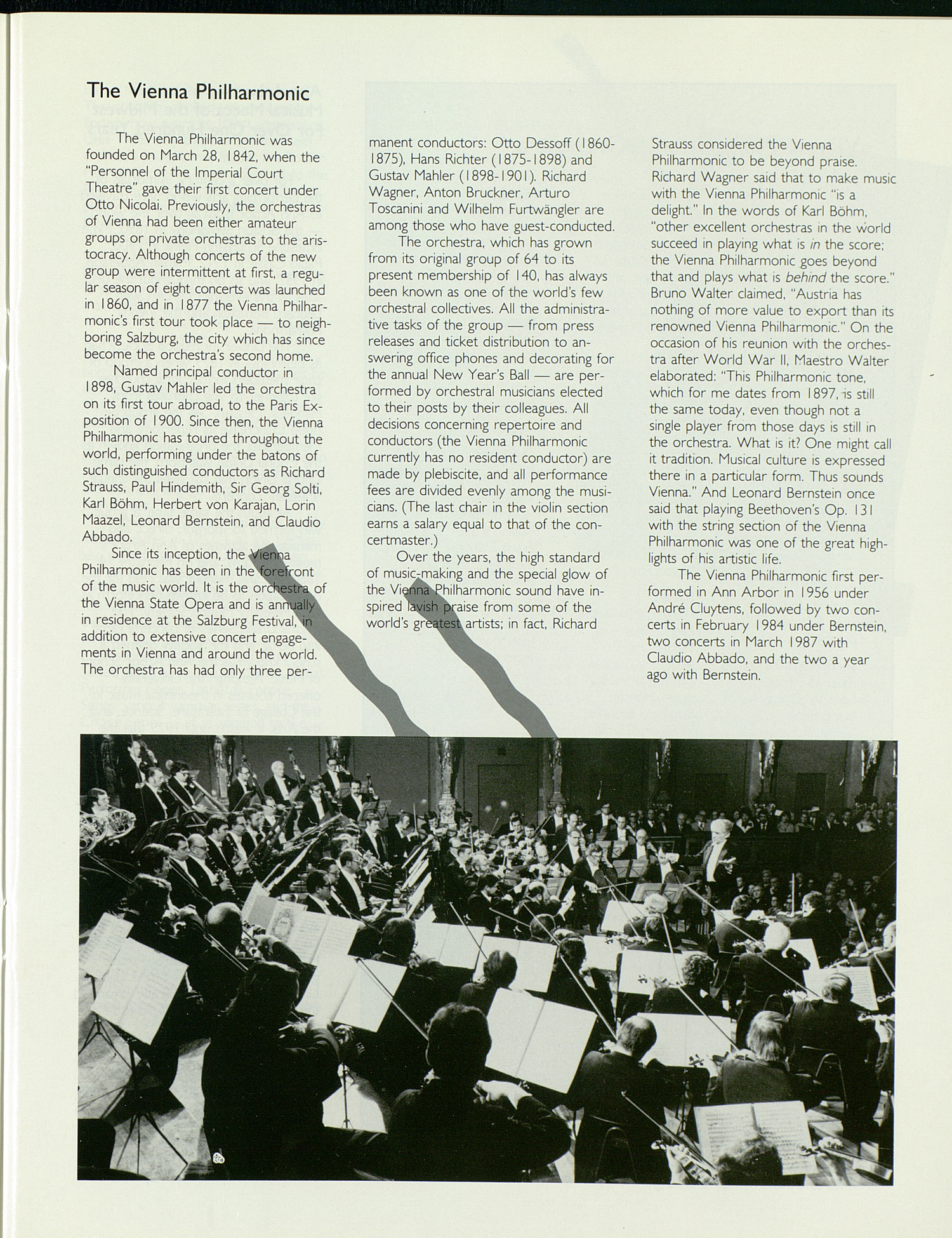UMS Concert Program, October 29, 1988: Our Night Of Celebration -- Maestro Bernstein And The Vienna Philharmonic Orchestra image