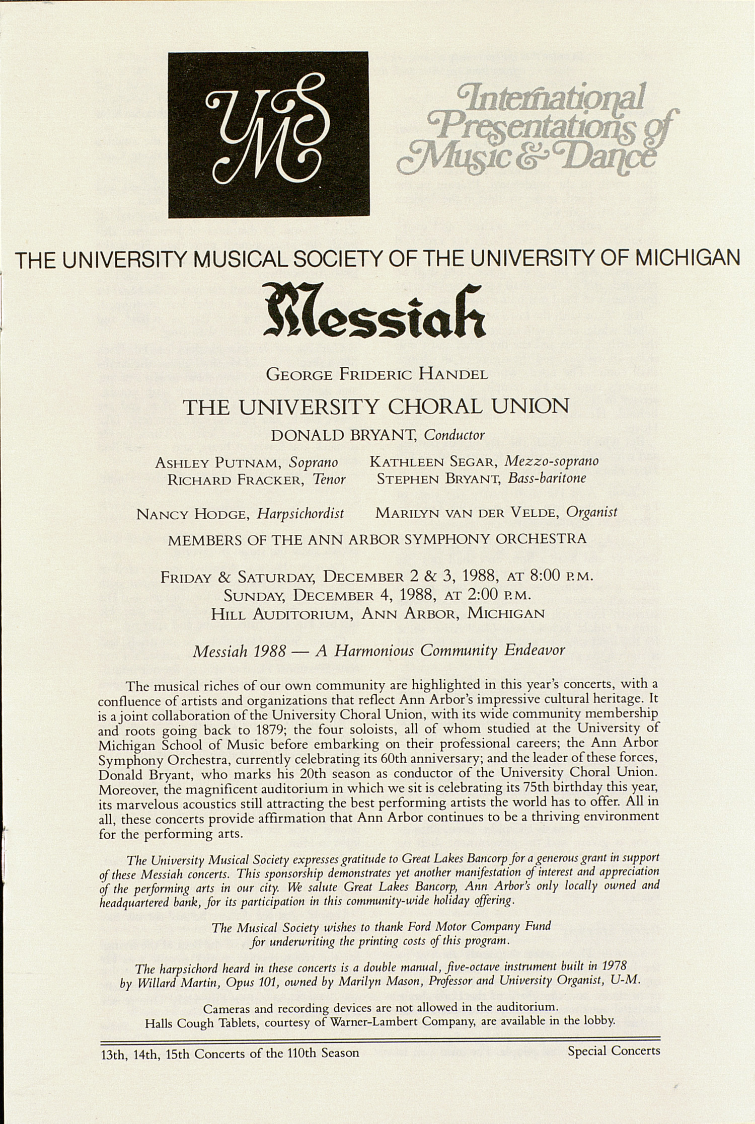 UMS Concert Program, December 2-4, 1988: Messiah -- George Frideric Handel image