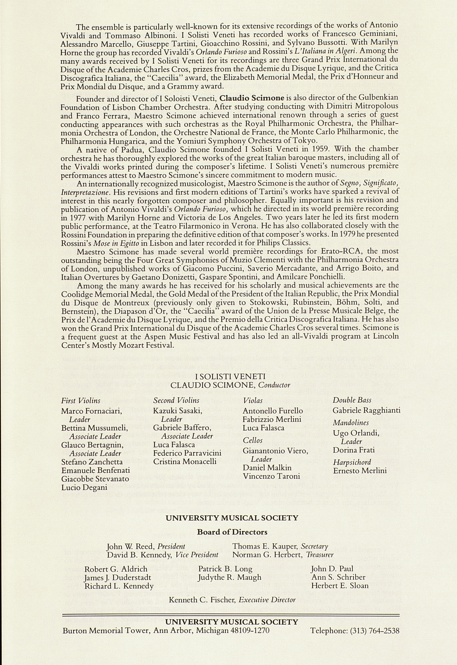 UMS Concert Program, December 6, 1988: I Solisti Veneti --  image