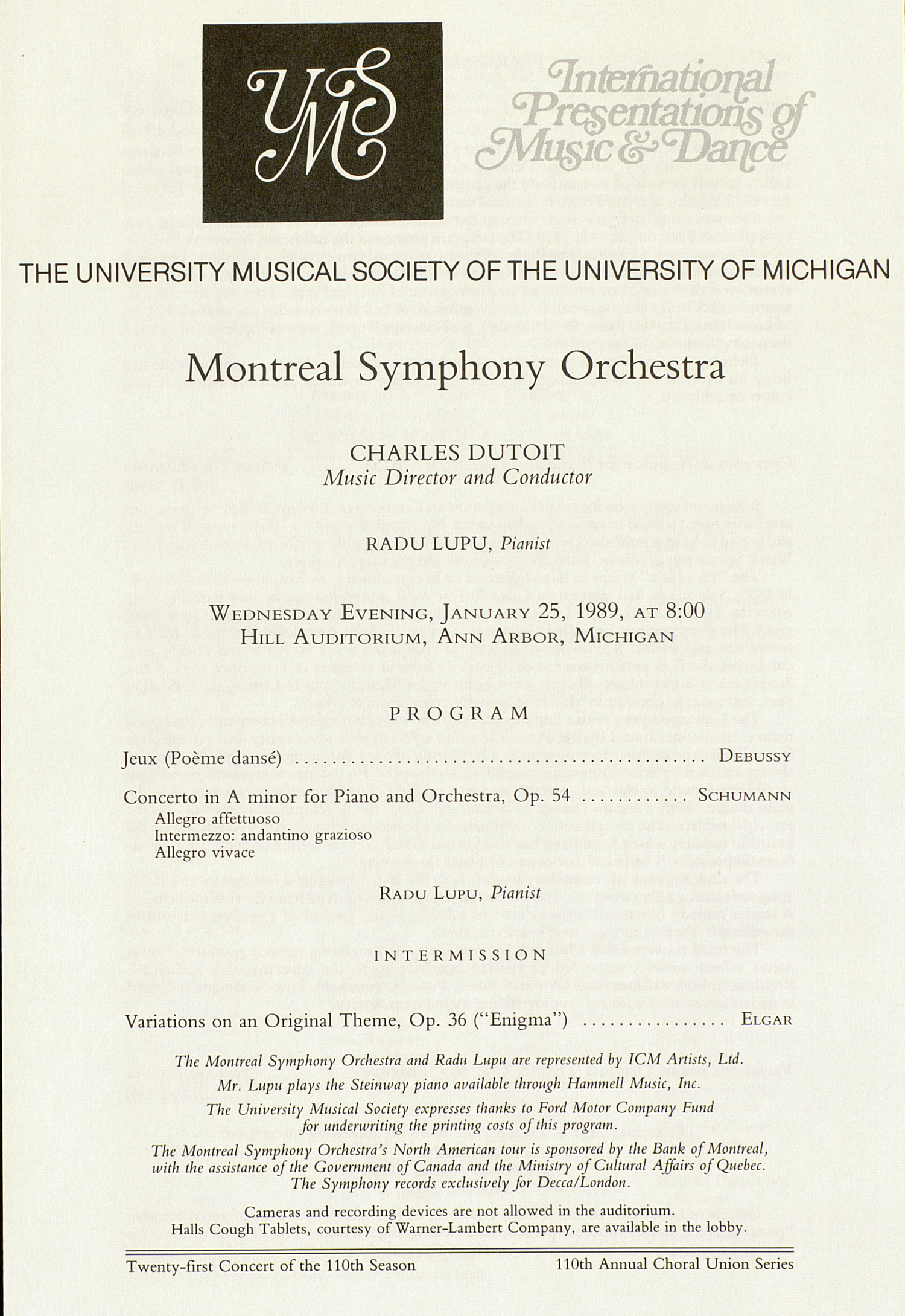 UMS Concert Program, January 25, 1989: International Presentations Of Music & Dance -- Montreal Symphony Orchestra image