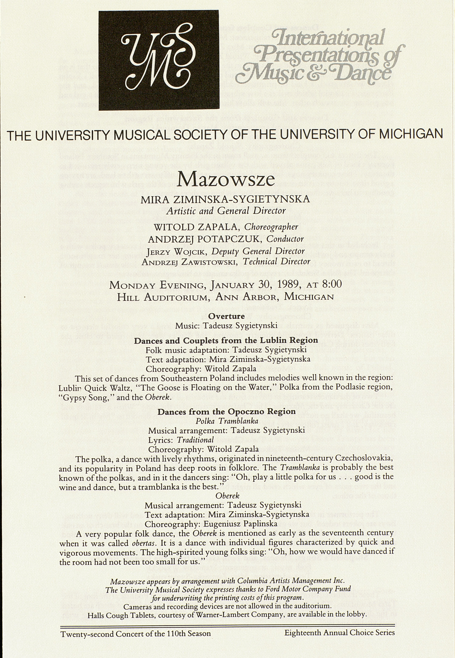 UMS Concert Program, January 30, 1989: Mazowsze --  image