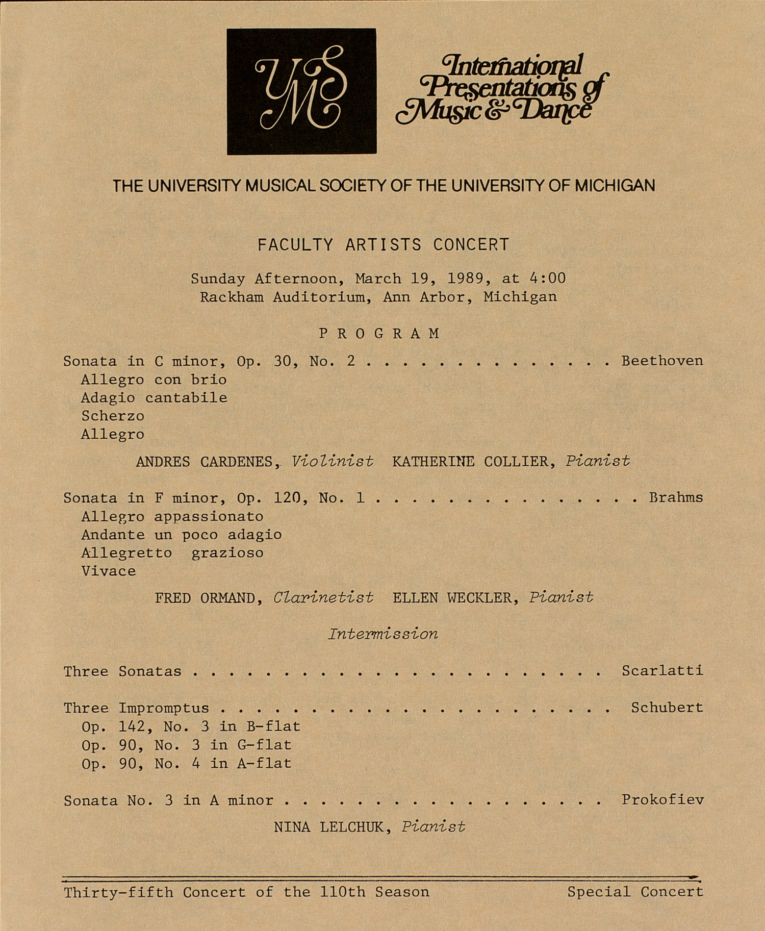 UMS Concert Program, March 19, 1989: Faculty Artists Concert --  image