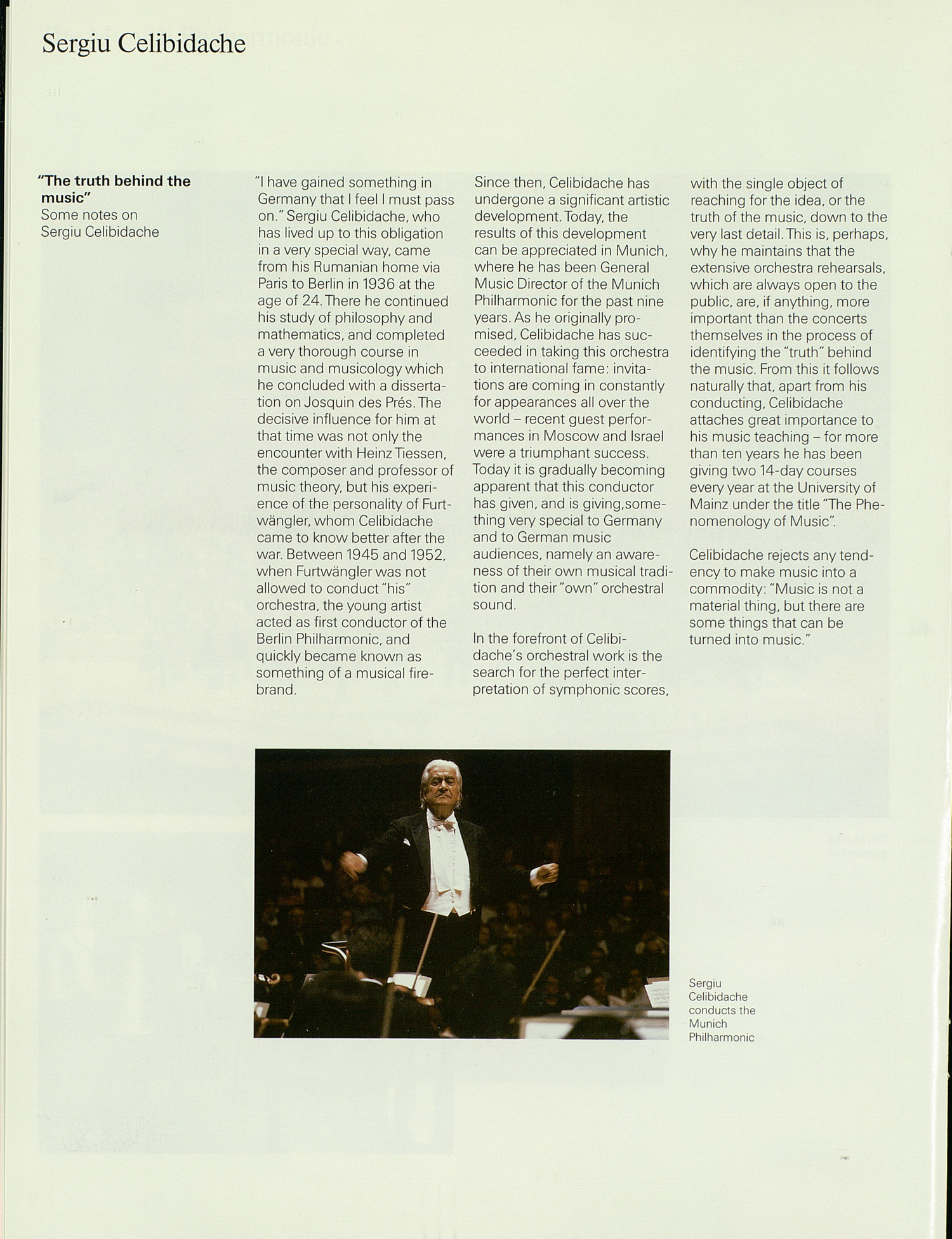 UMS Concert Program, : Munich Philharmonic Sergiu Celibidache North America Tour 1989 --  image