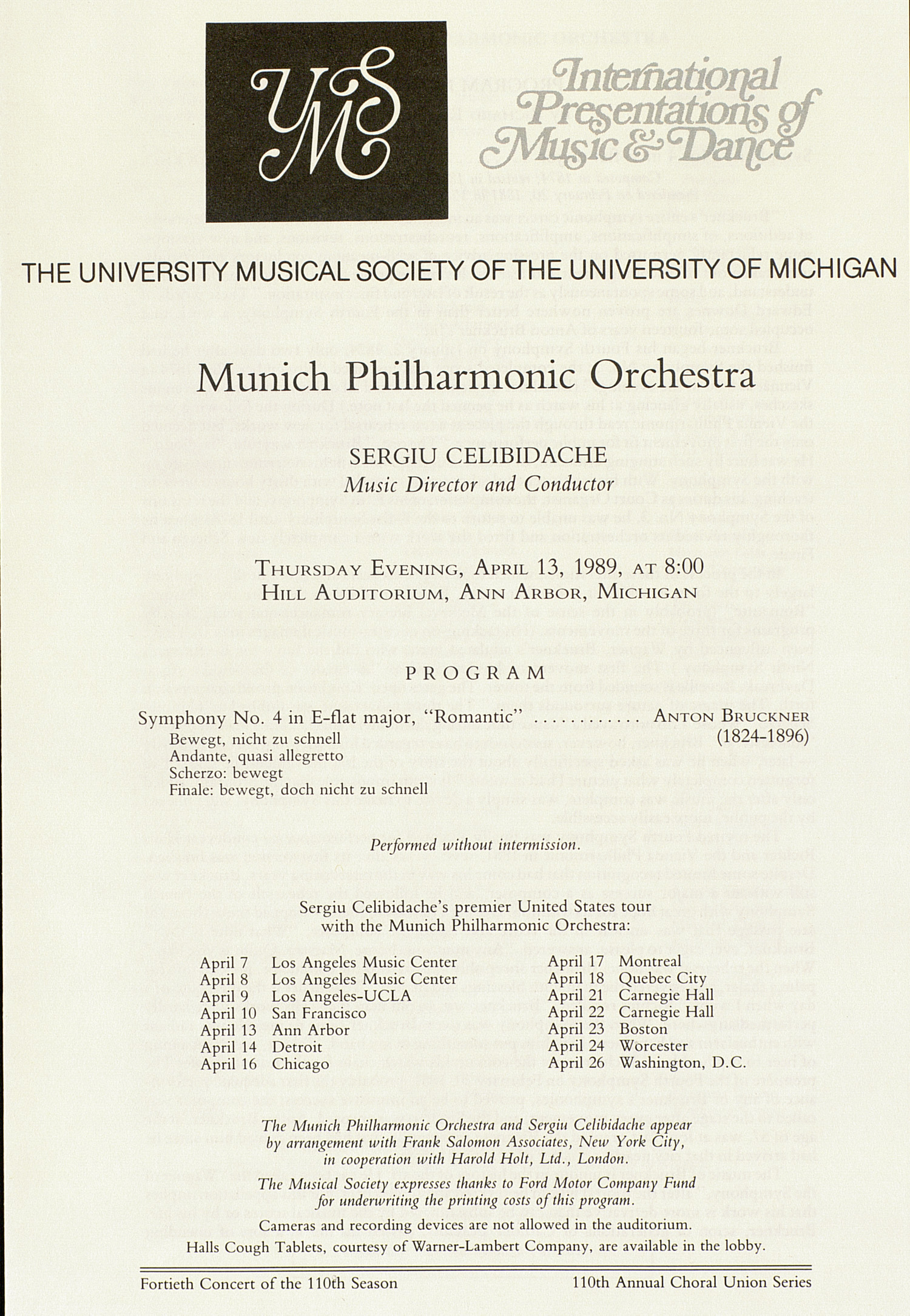UMS Concert Program, April 13, 1989: International Presentations Of Music & Dance -- Munich Philharmonic Orchestra image
