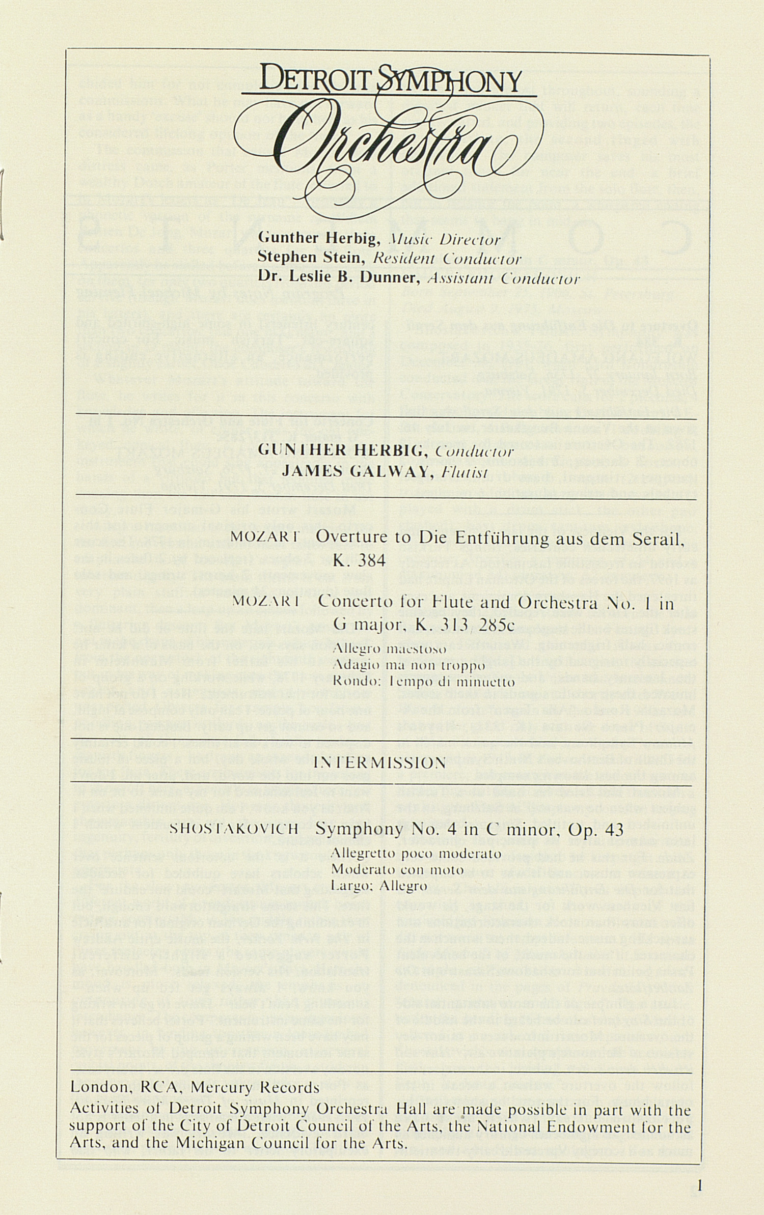 UMS Concert Program, October 1, 1989: International Presentations Of Music & Dance -- Detroit Symphony Orchestra image