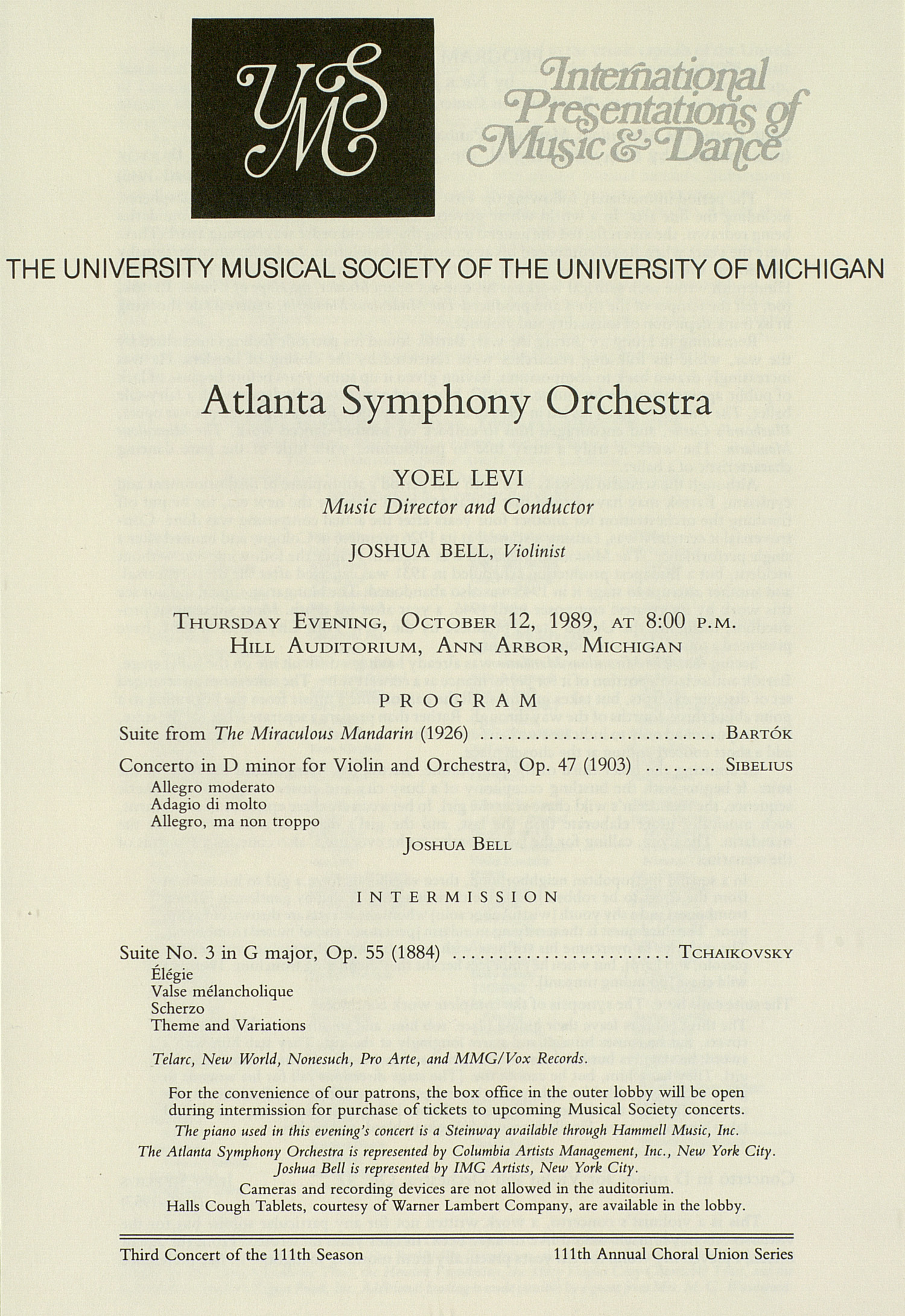UMS Concert Program, October 12, 1989: International Presentations Of Music & Dance -- Atlanta Symphony Orchestra image