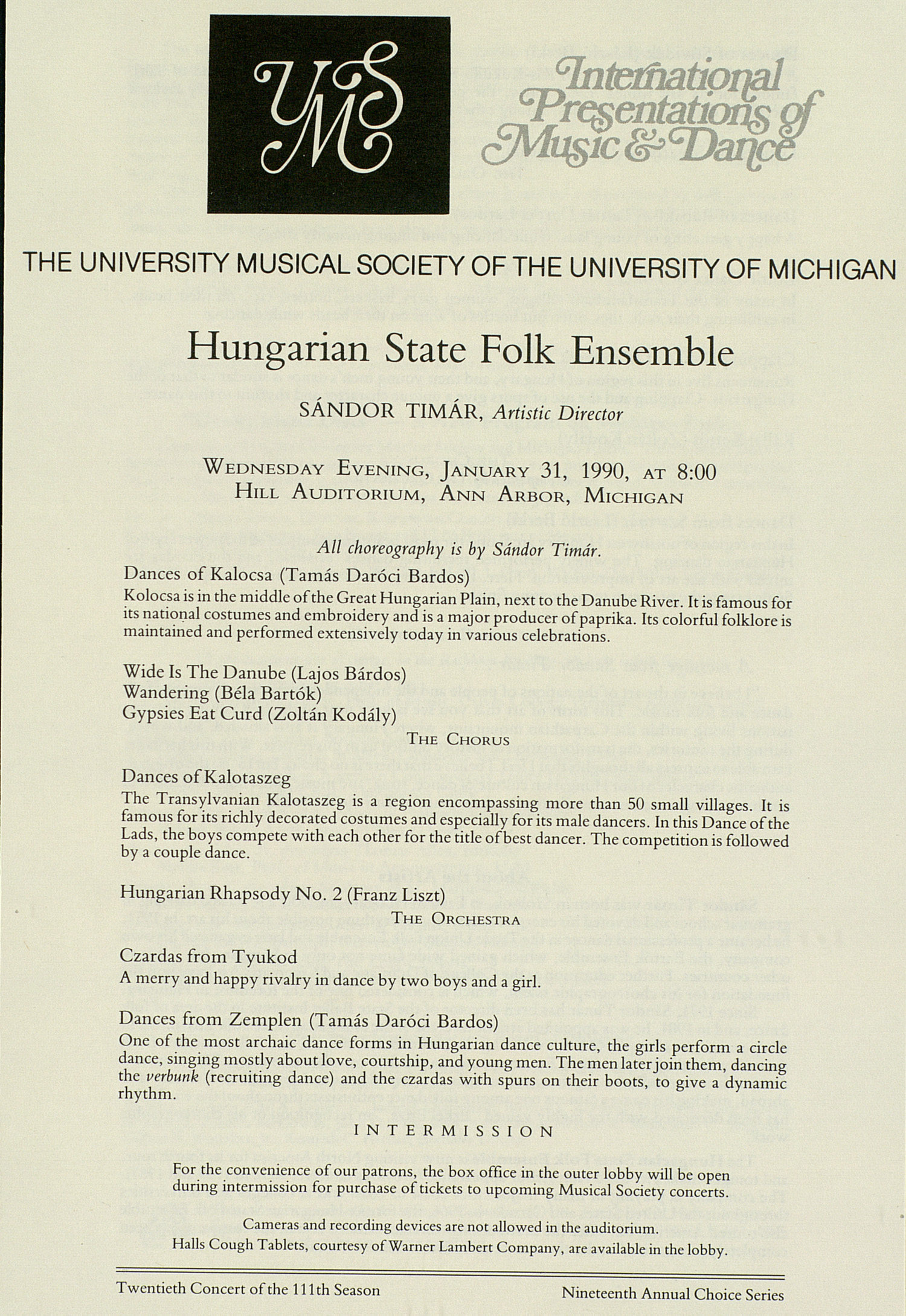 UMS Concert Program, January 31, 1990: Hungarian State Folk Ensemble --  image