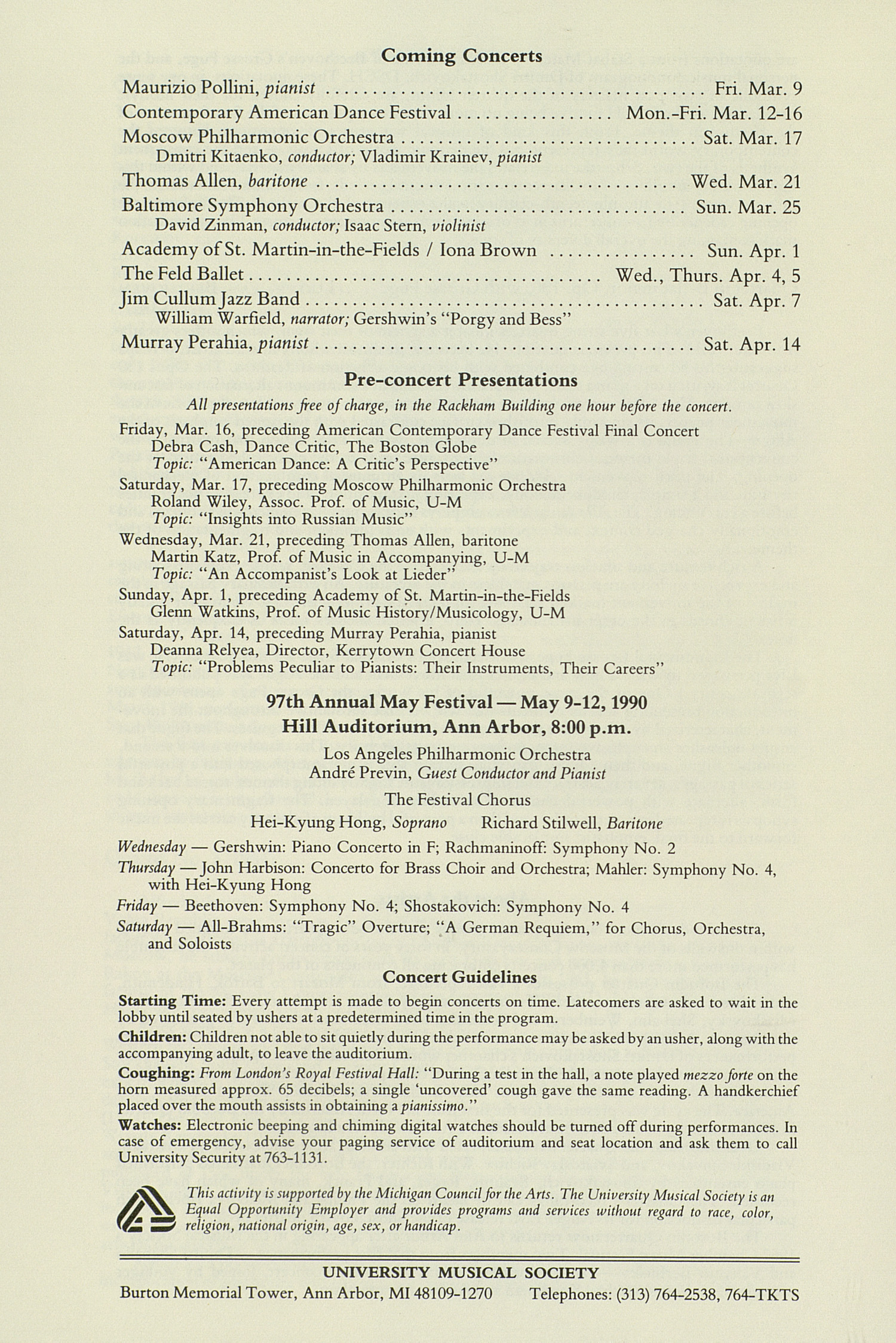 UMS Concert Program, February 25, 1990: Borodin Quartet --  image