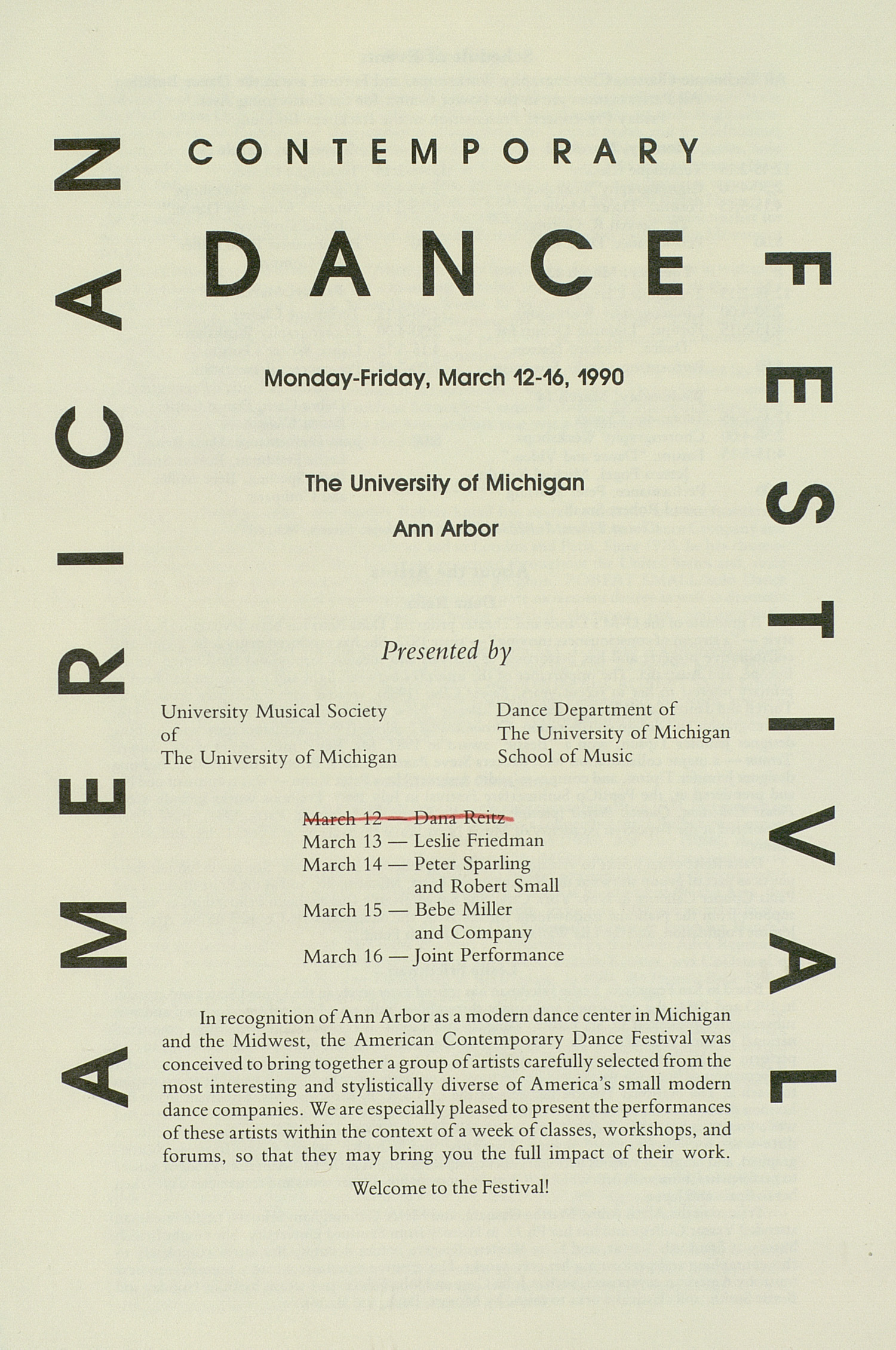 UMS Concert Program, March 1216, 1990: American Contemporary Dance Festival --  image