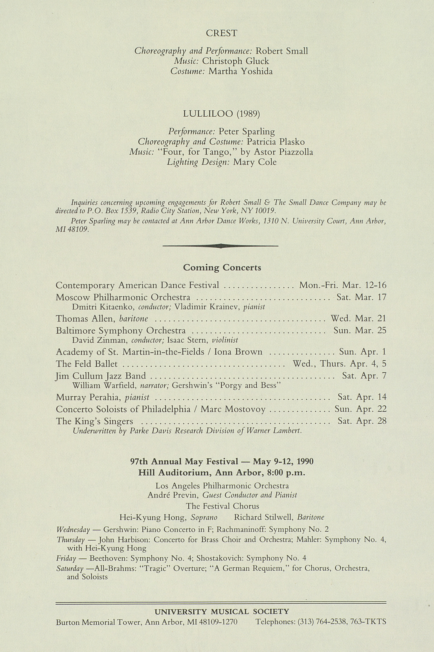 UMS Concert Program, March 14, 1990: International Presentations Of Music & Dance -- Peter Sparling And Robert Small image