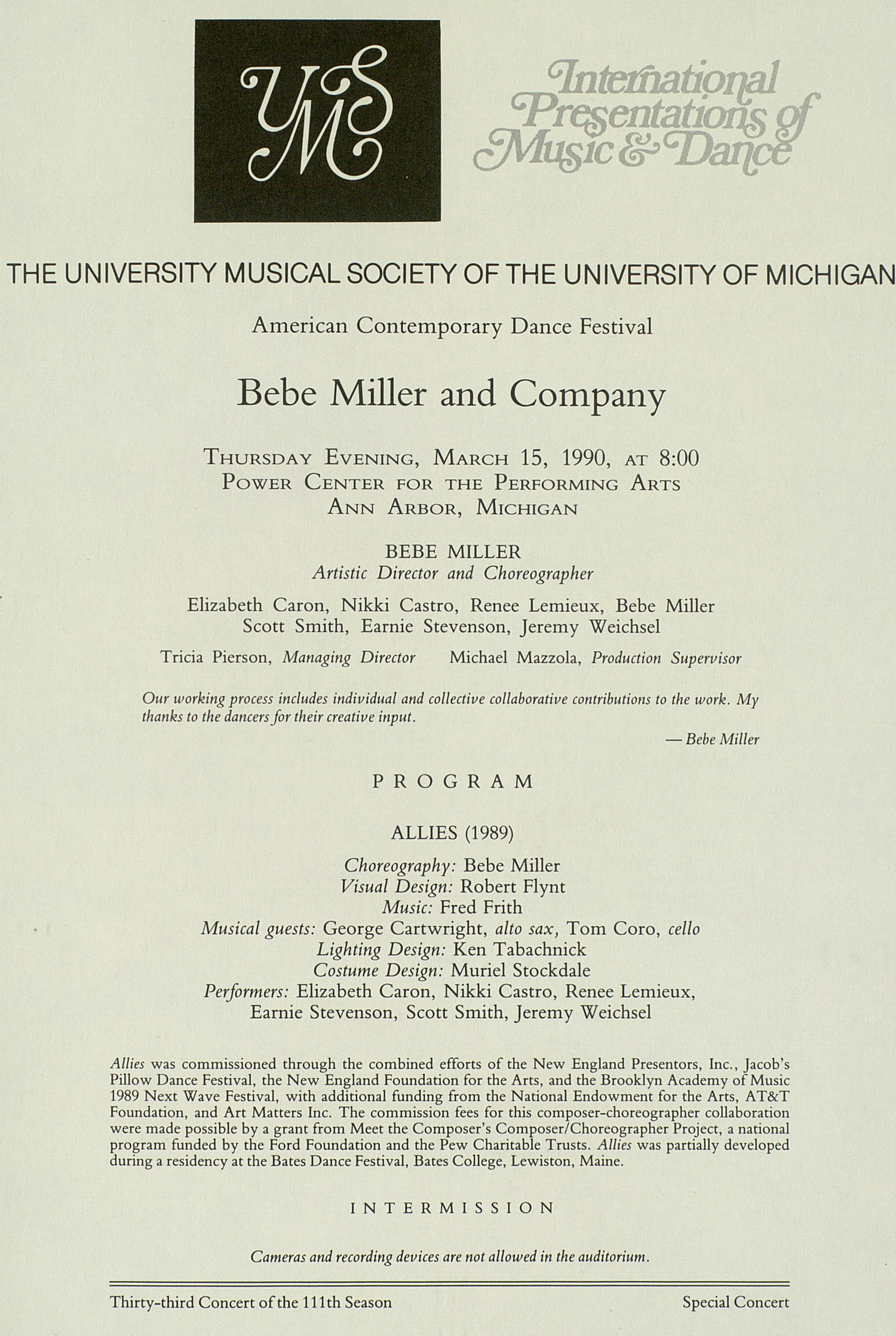 UMS Concert Program, March 15, 1990: International Presentations Of Music & Dance -- Bebe Miller And Company image