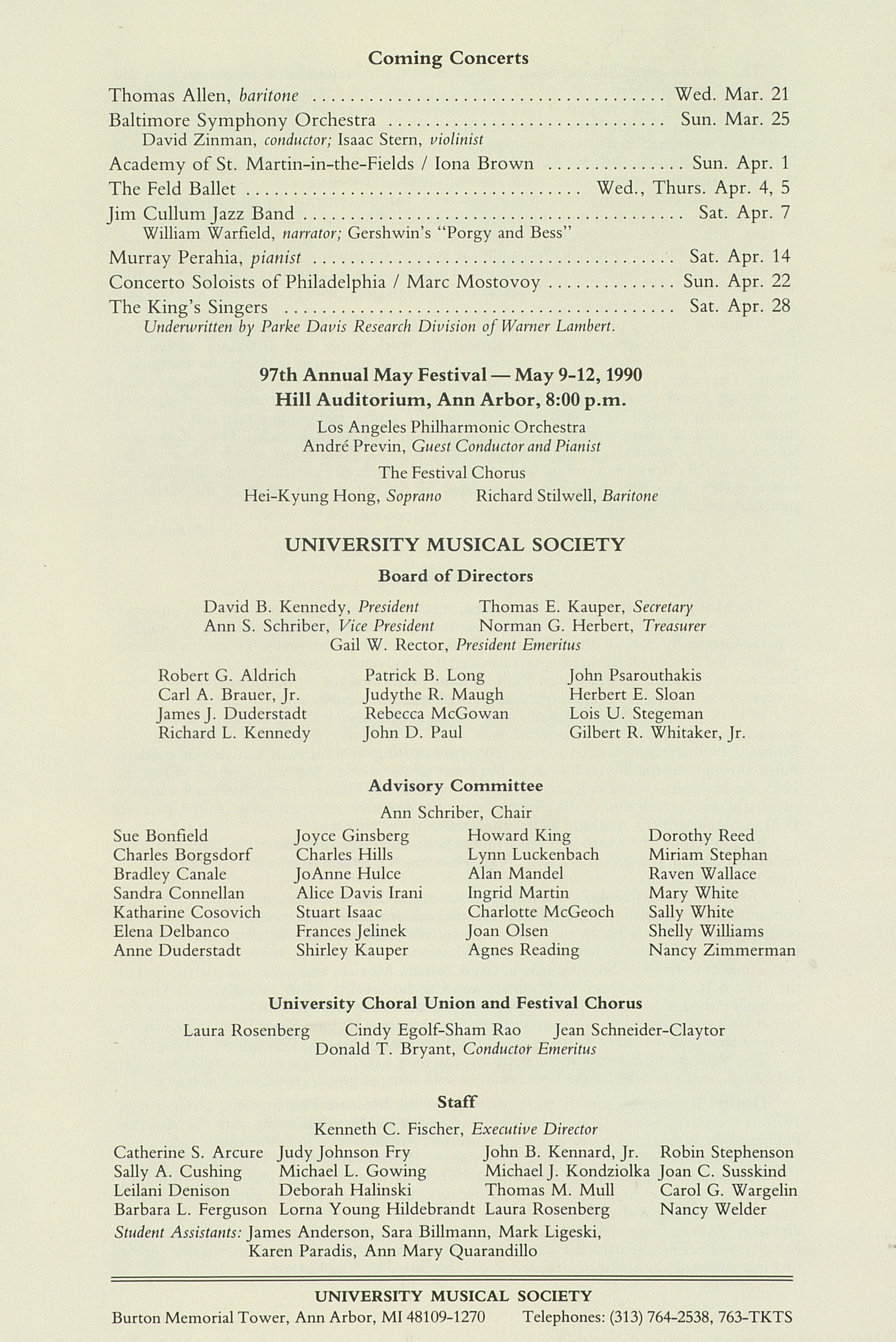 UMS Concert Program, March 17, 1990: International Presentations Of Music & Dance -- Moscow Philharmonic Orchestra image