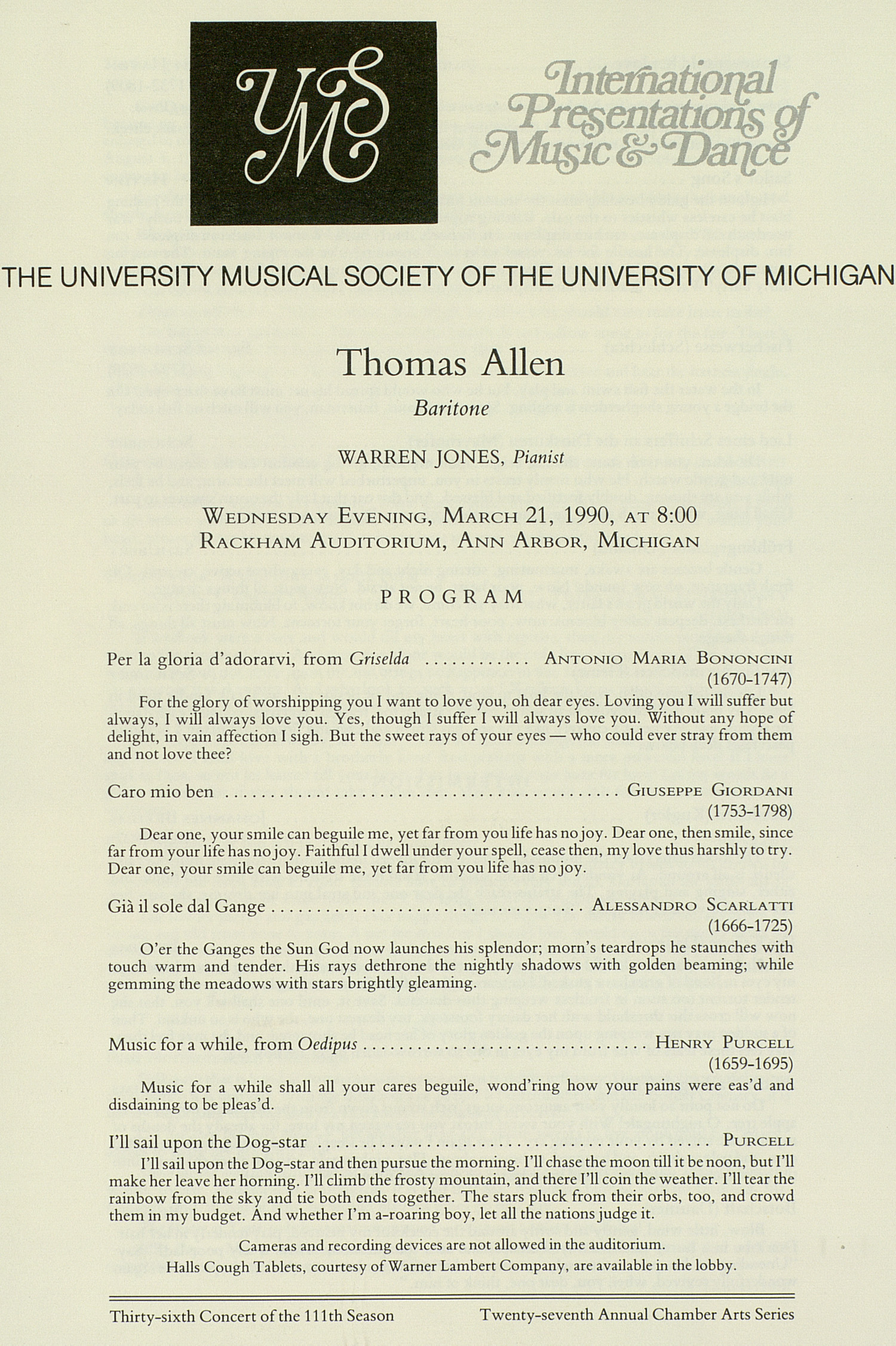 UMS Concert Program, March 21, 1990: International Presentations Of Music & Dance --  image