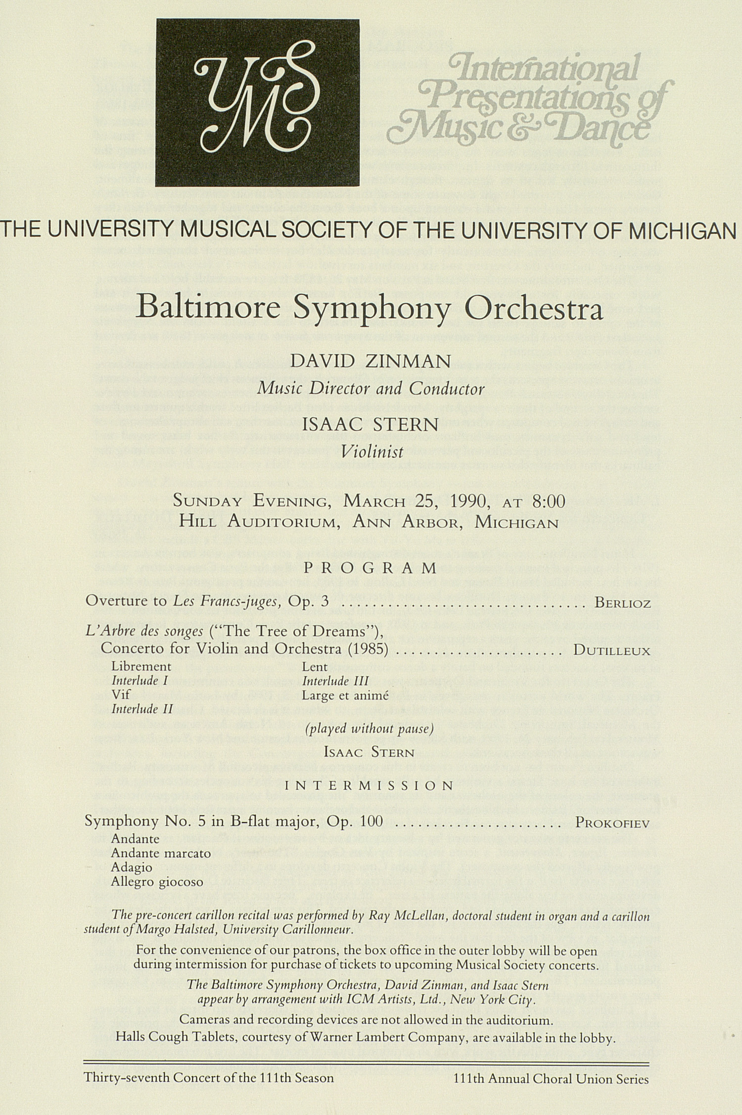 UMS Concert Program, March 25, 1990: International Presentations Of Music & Dance -- Baltimore Symphony Orchestra image