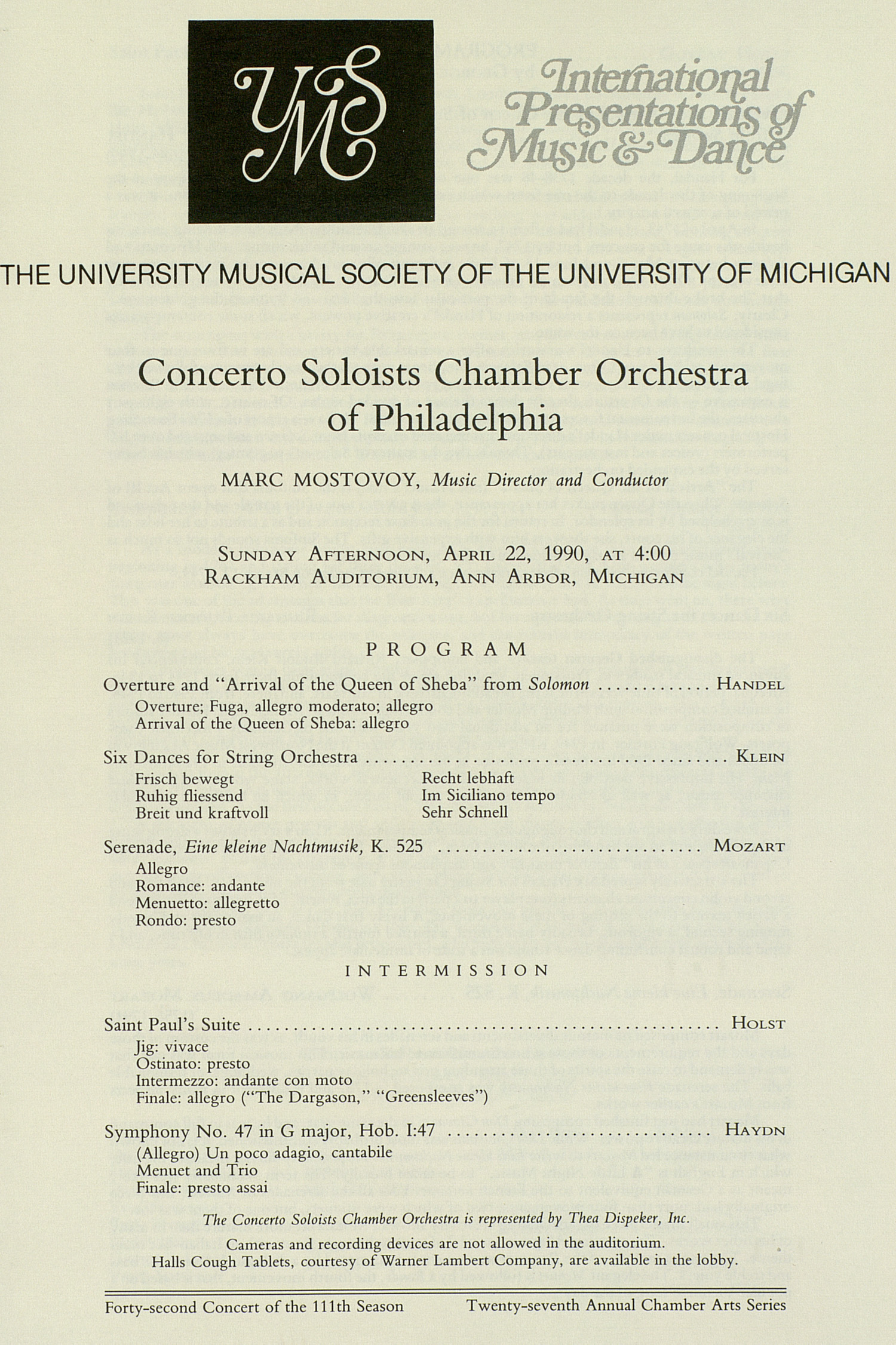 UMS Concert Program, April 22, 1990: International Presentations Of Music & Dance -- Concerto Soloists Chamber Orchestra image