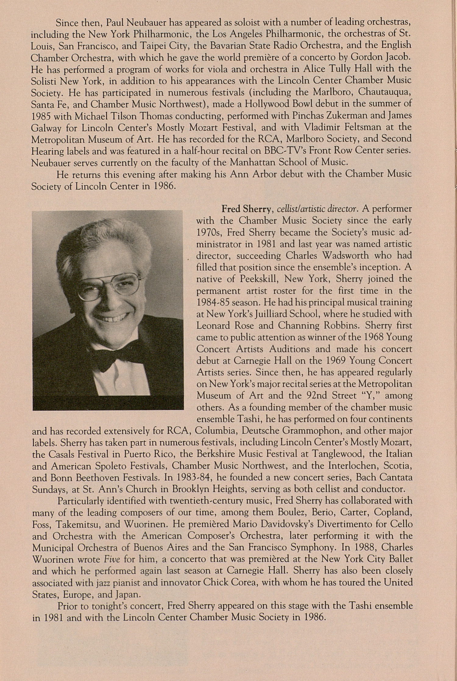 UMS Concert Program, October 1, 1990: Chamber Music Society Of Lincoln Center --  image