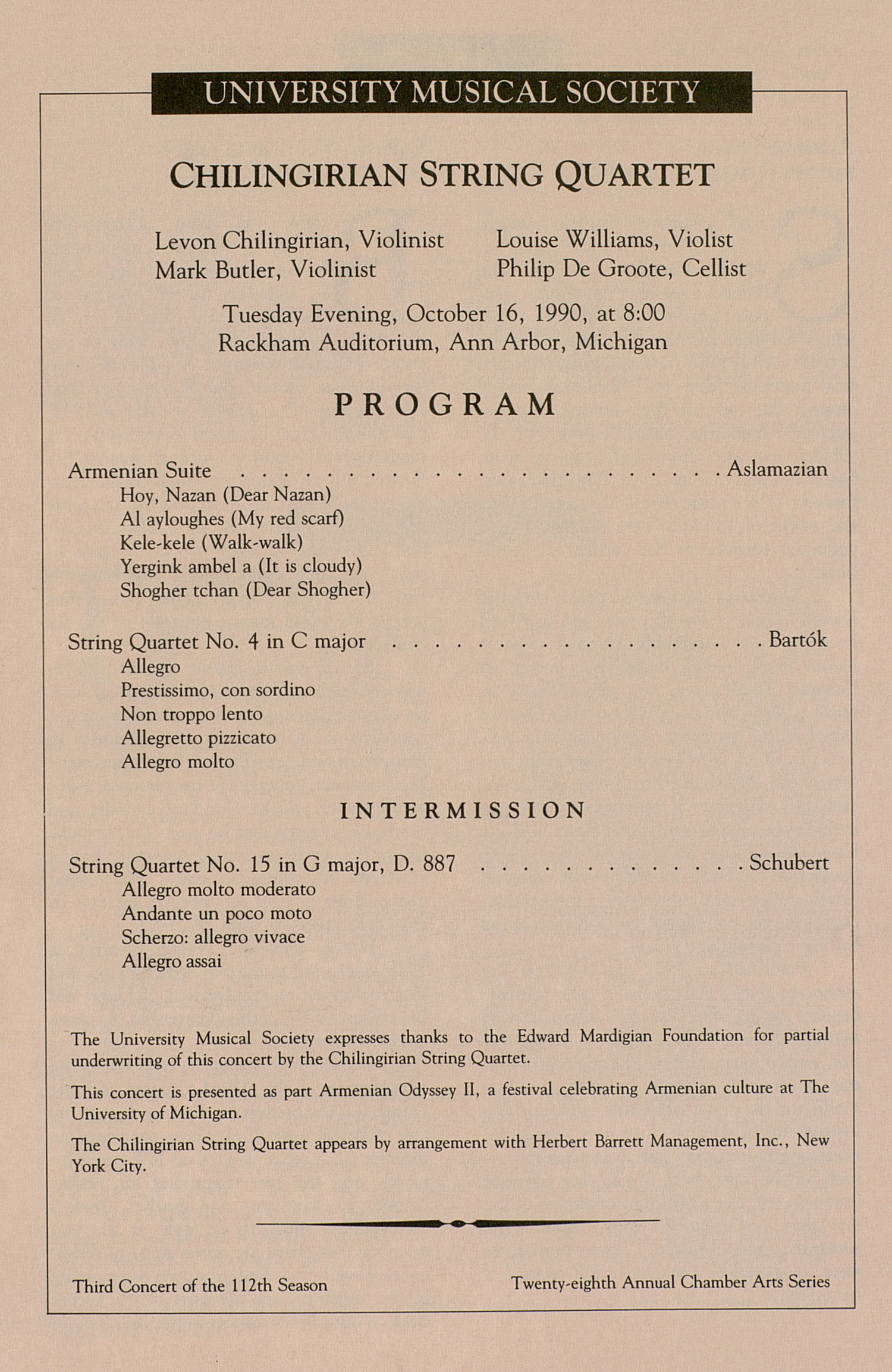 UMS Concert Program, October 16, 1990: Chilingirian String Quartet --  image