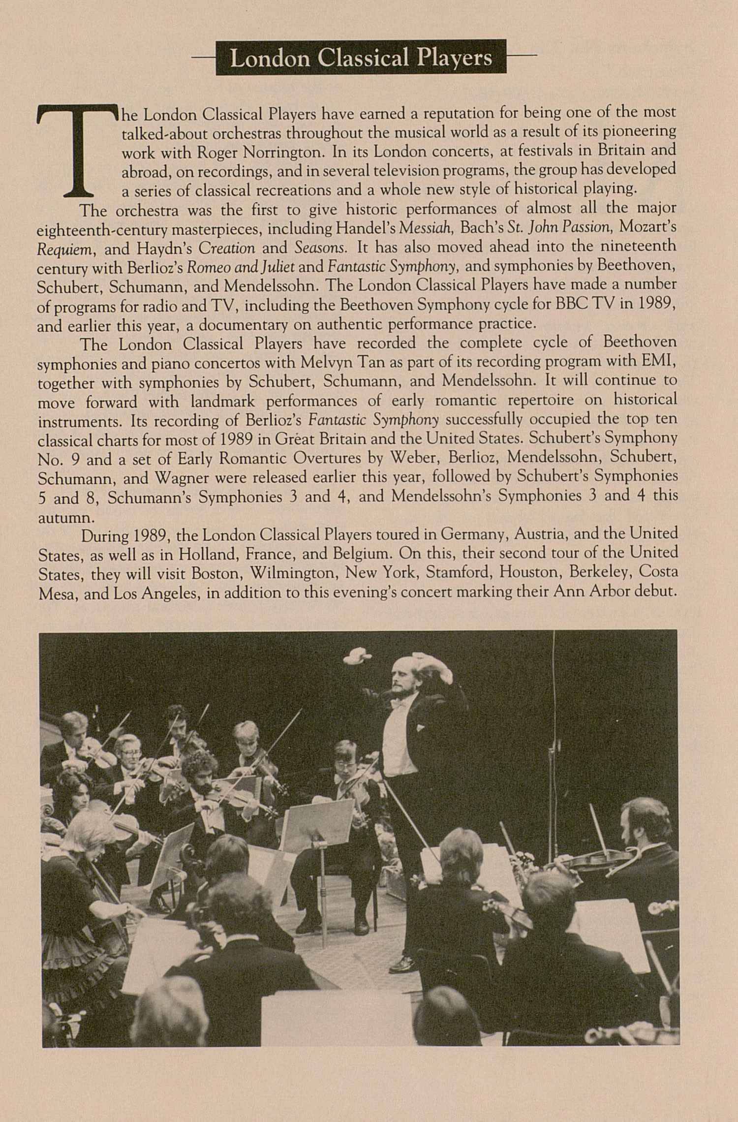 UMS Concert Program, October 25, 1990: London Classical Players --  image